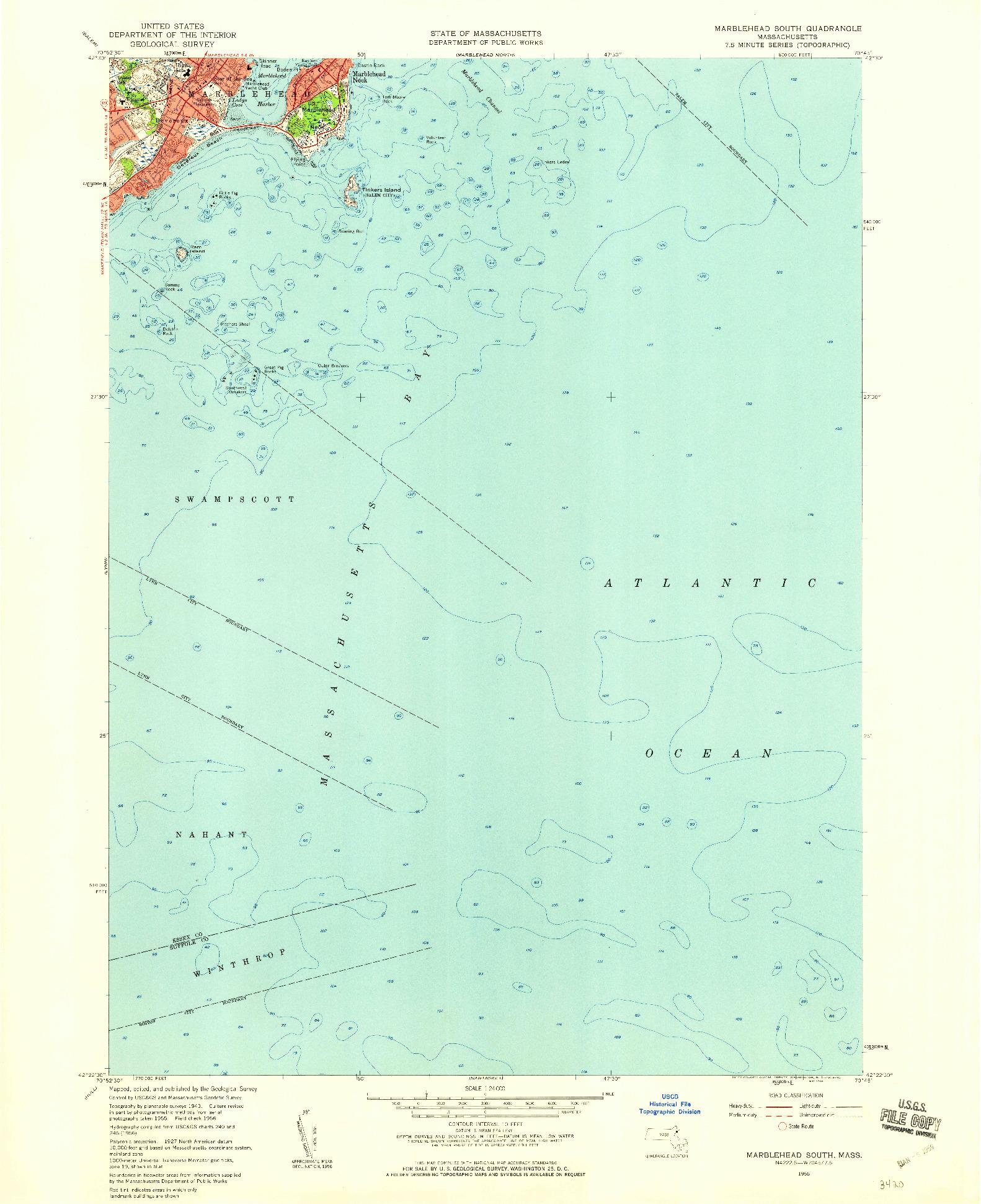 USGS 1:24000-SCALE QUADRANGLE FOR MARBLEHEAD SOUTH, MA 1956