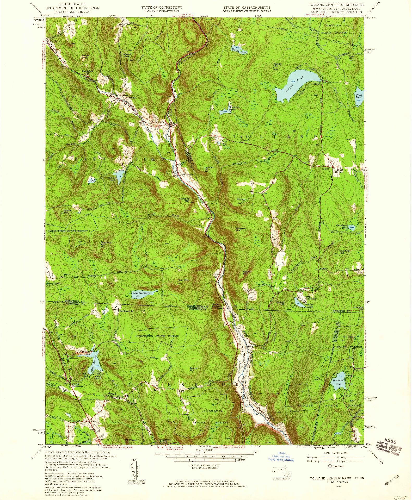 USGS 1:24000-SCALE QUADRANGLE FOR TOLLAND CENTER, MA 1958