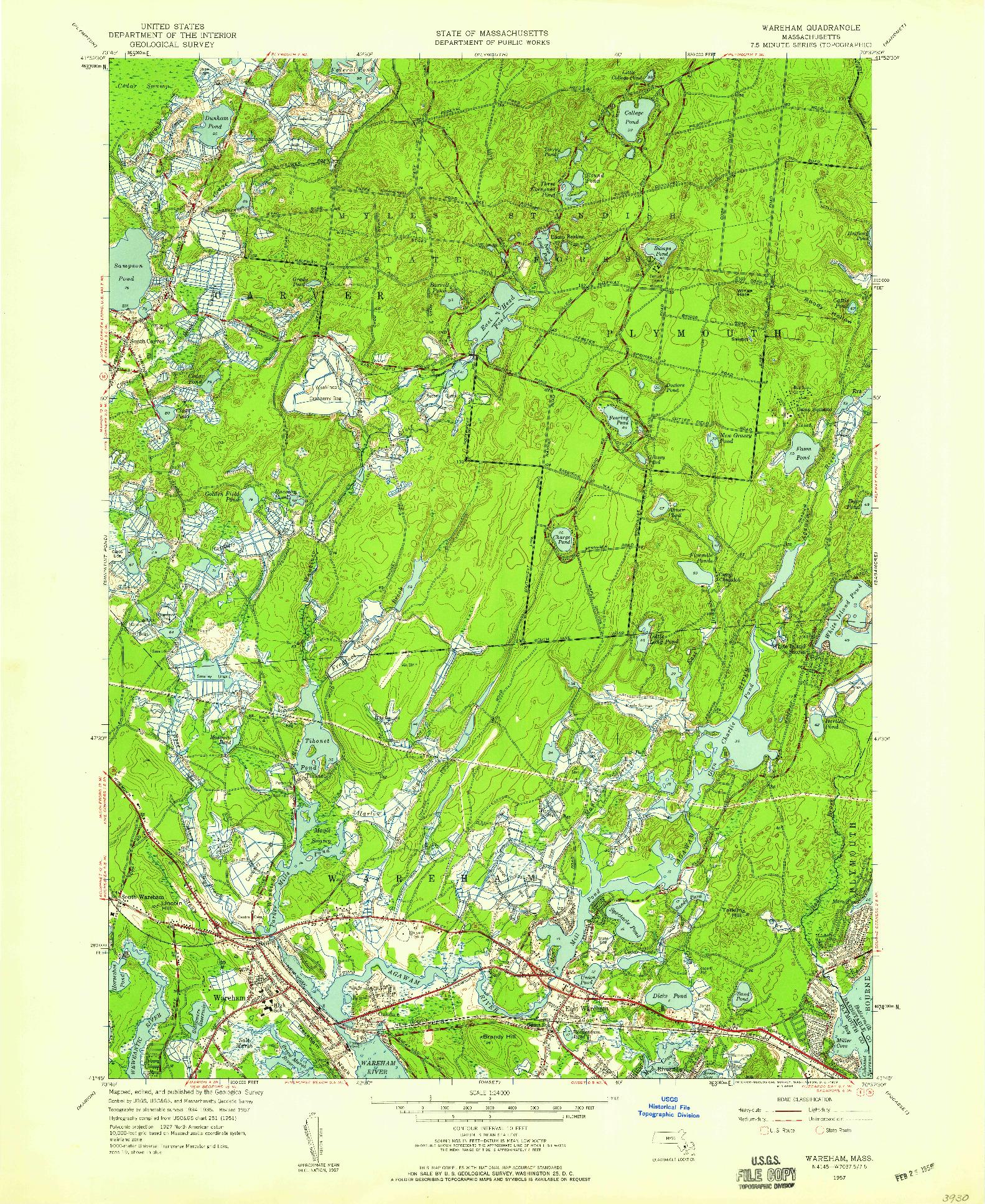 USGS 1:24000-SCALE QUADRANGLE FOR WAREHAM, MA 1957