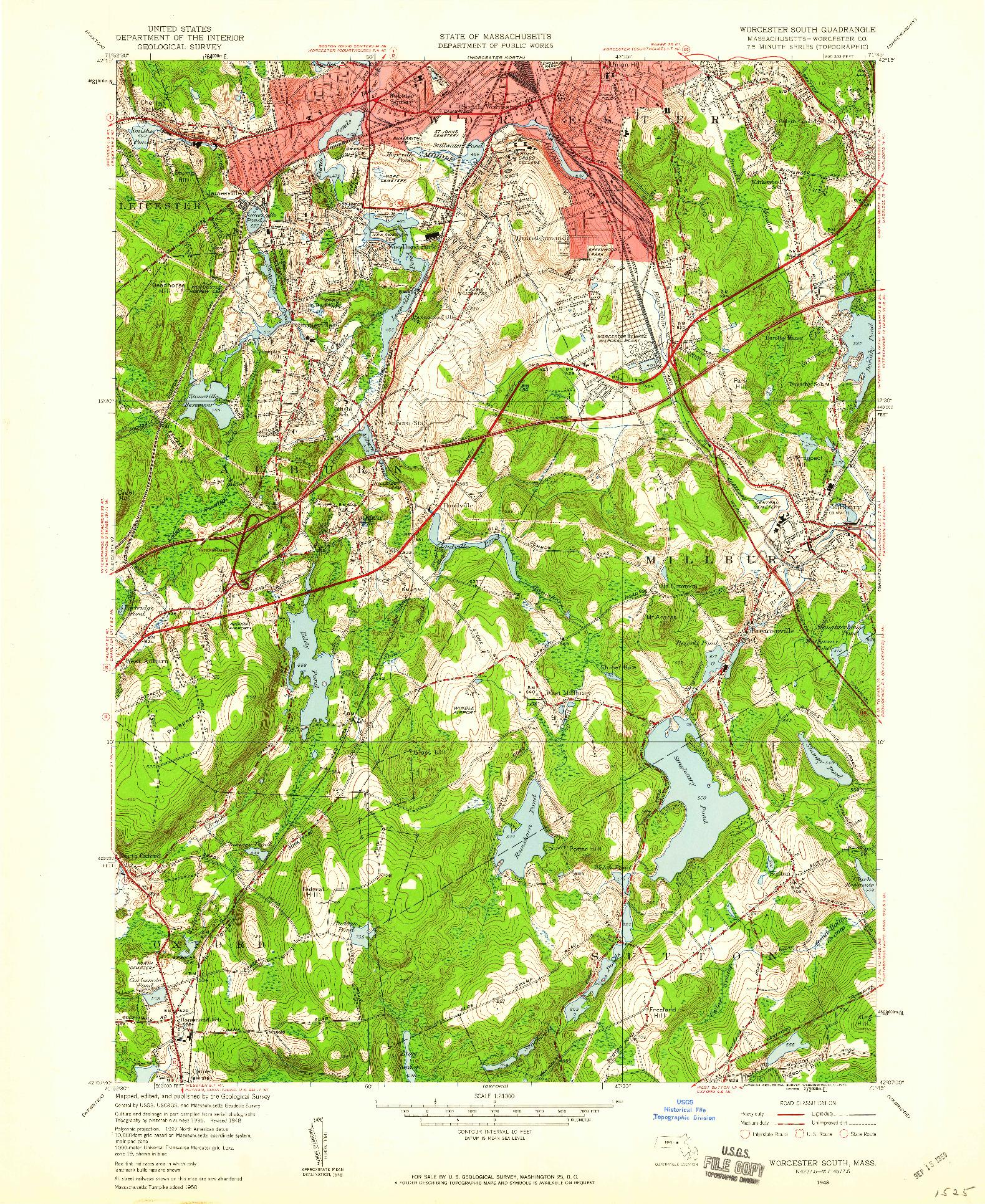 USGS 1:24000-SCALE QUADRANGLE FOR WORCESTER SOUTH, MA 1948