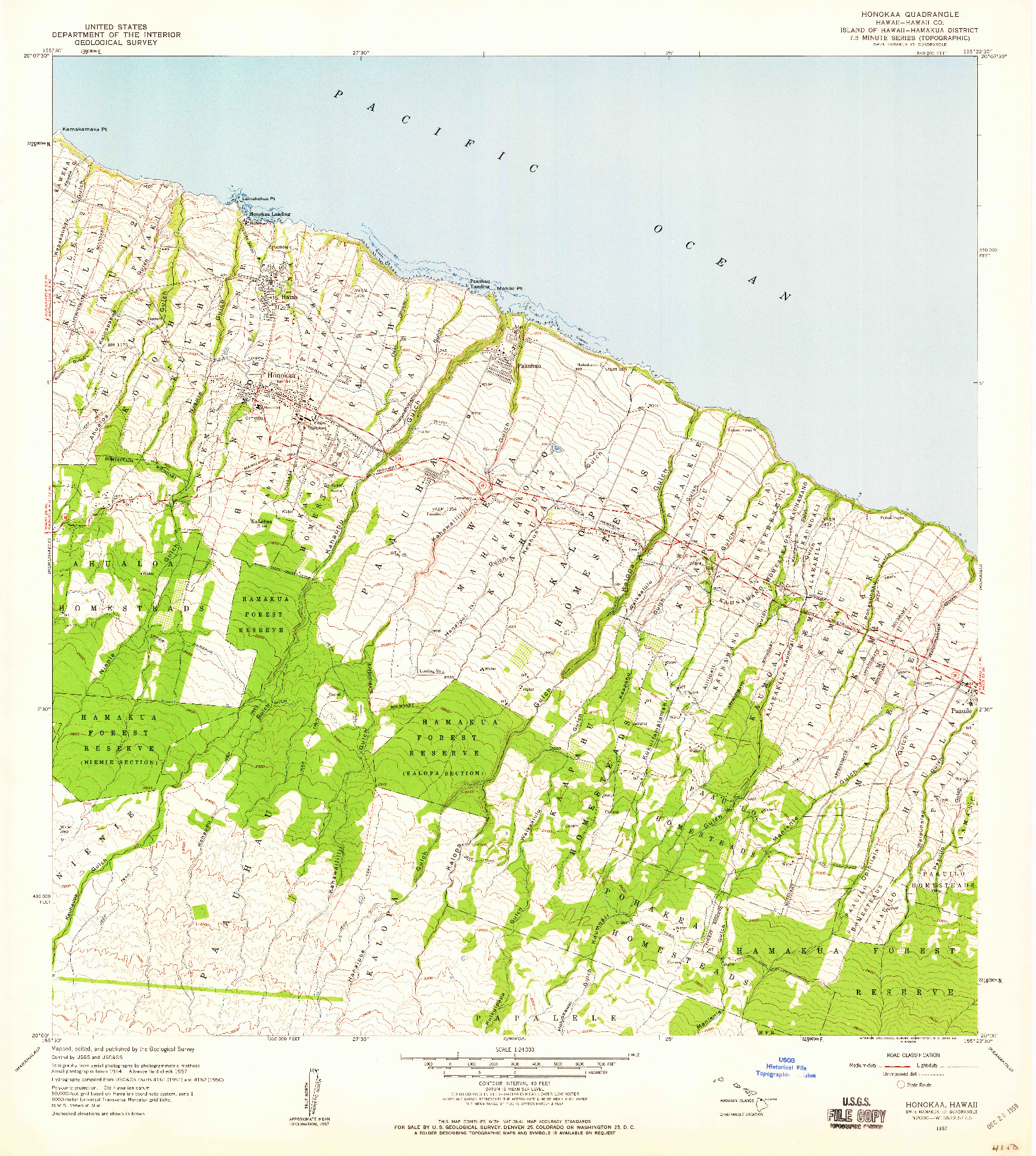 USGS 1:24000-SCALE QUADRANGLE FOR HONOKAA, HI 1957