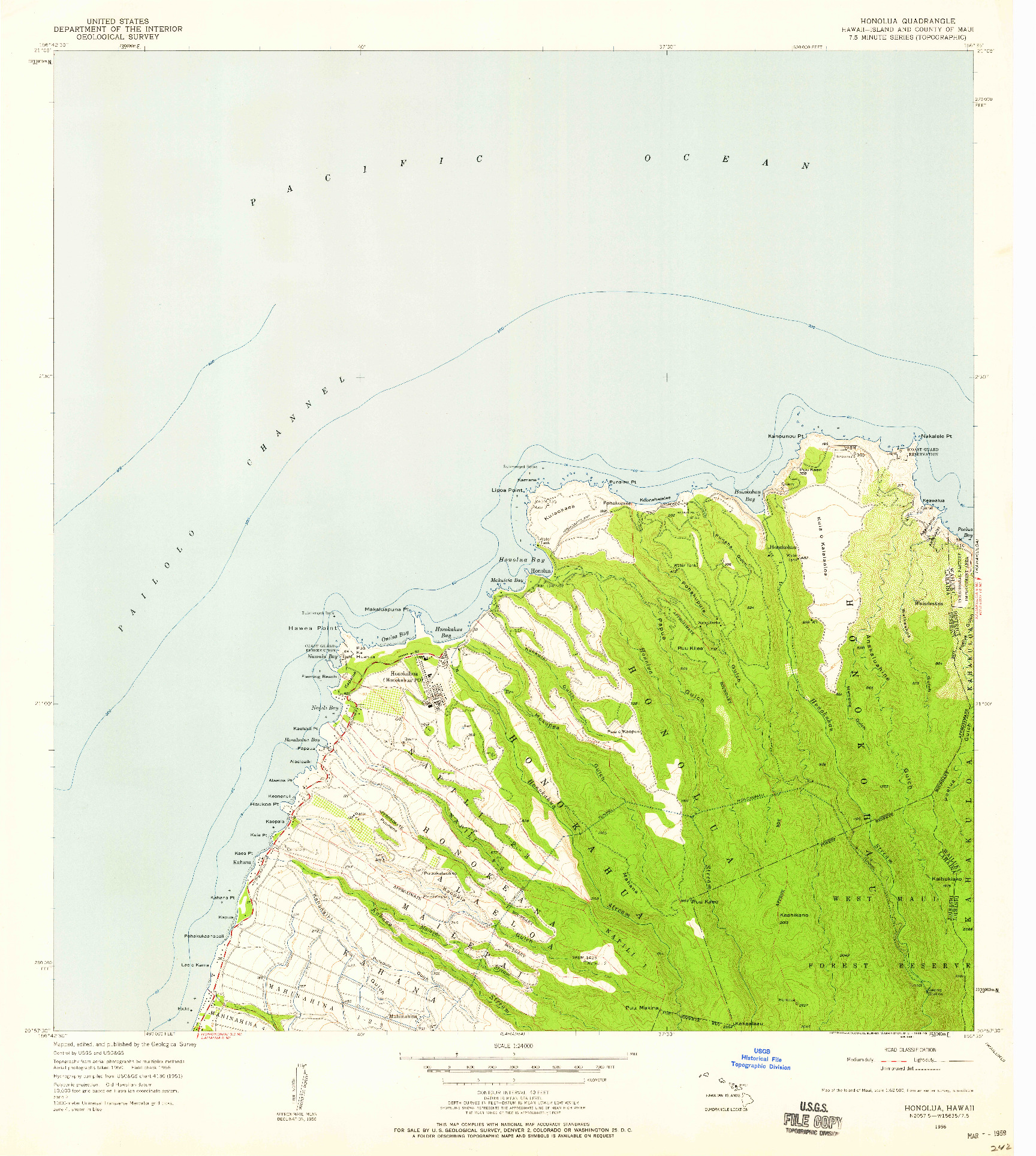 USGS 1:24000-SCALE QUADRANGLE FOR HONOLUA, HI 1956