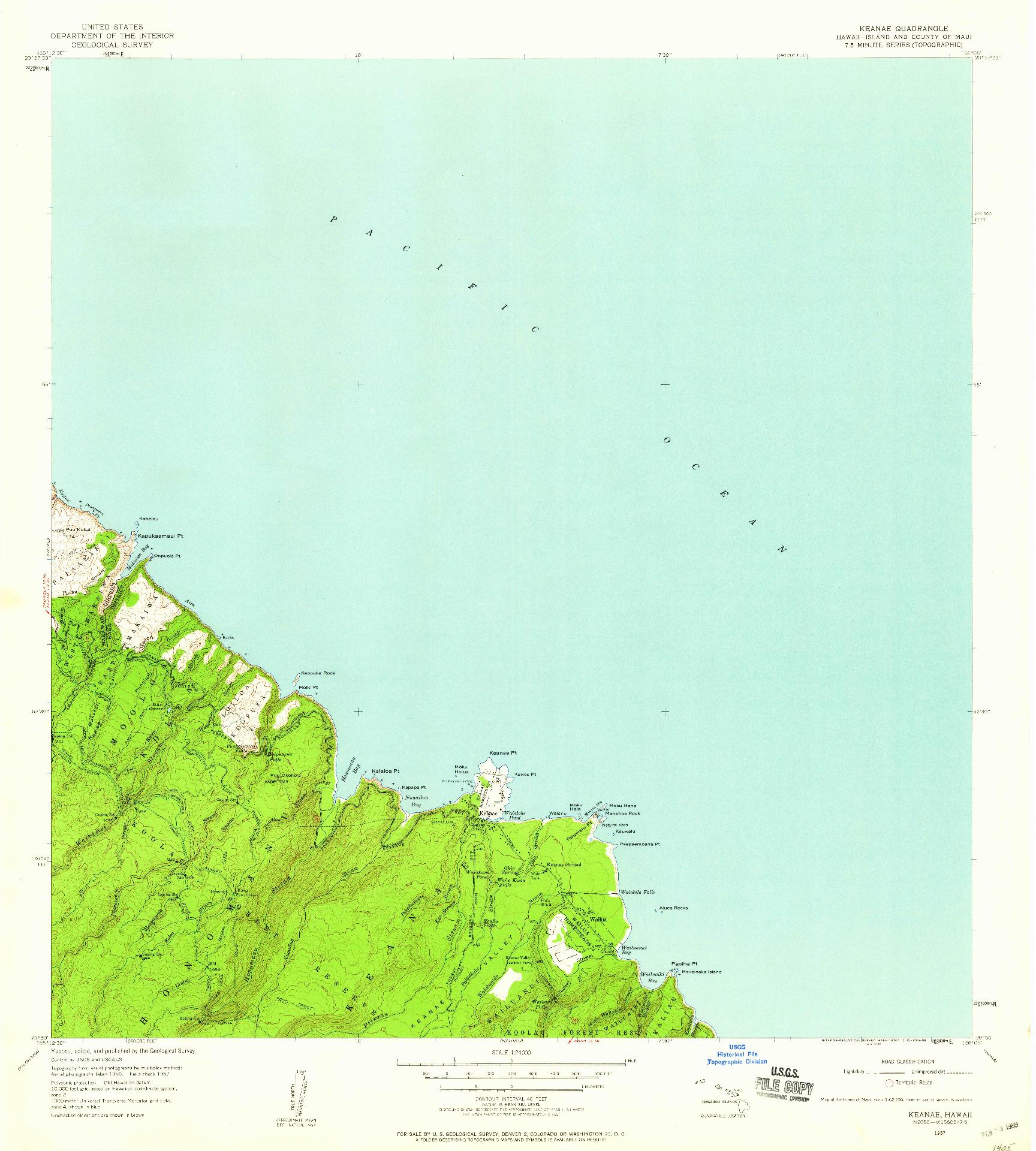 USGS 1:24000-SCALE QUADRANGLE FOR KEANAE, HI 1957