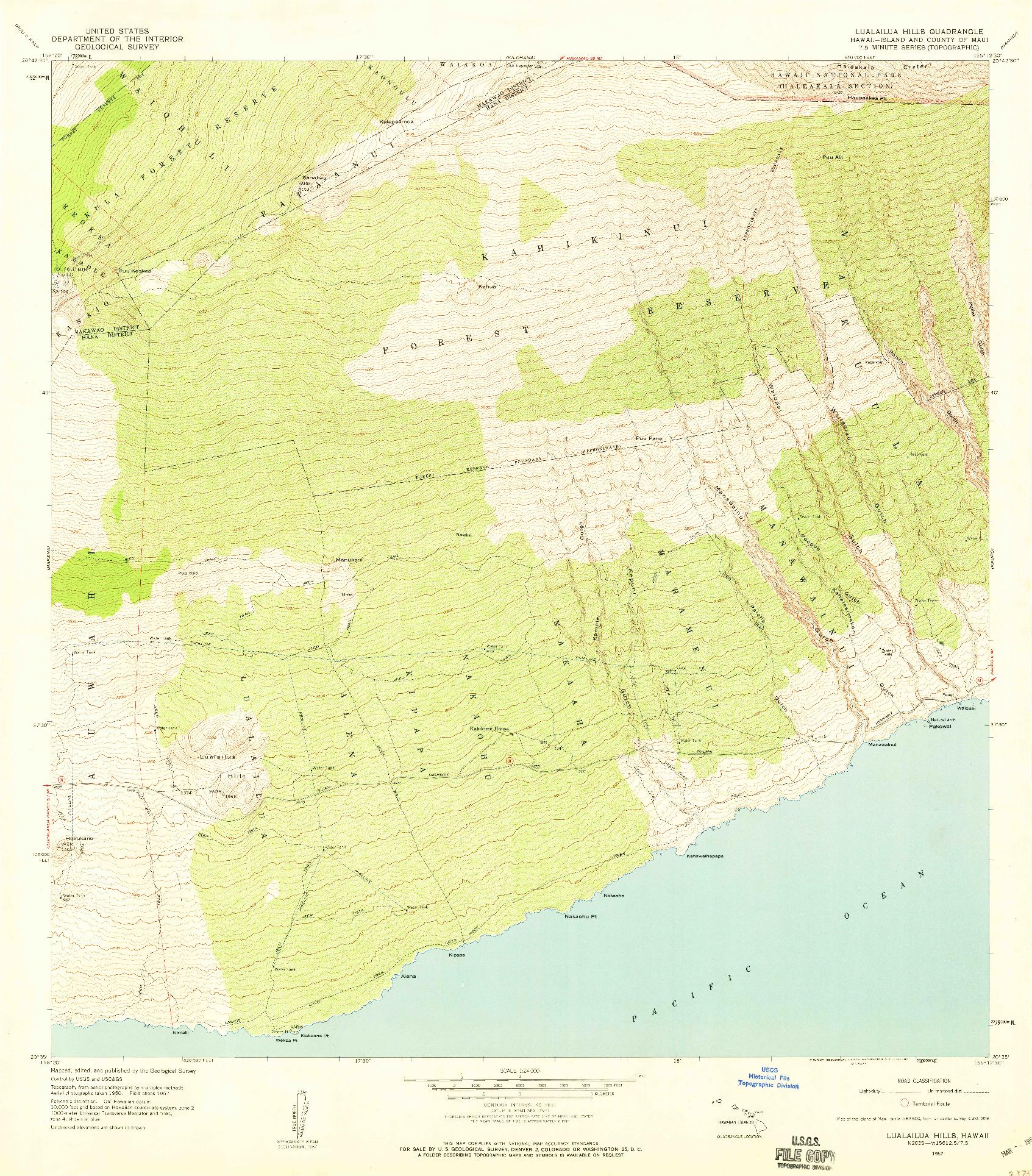 USGS 1:24000-SCALE QUADRANGLE FOR LUALAILUA HILLS, HI 1957