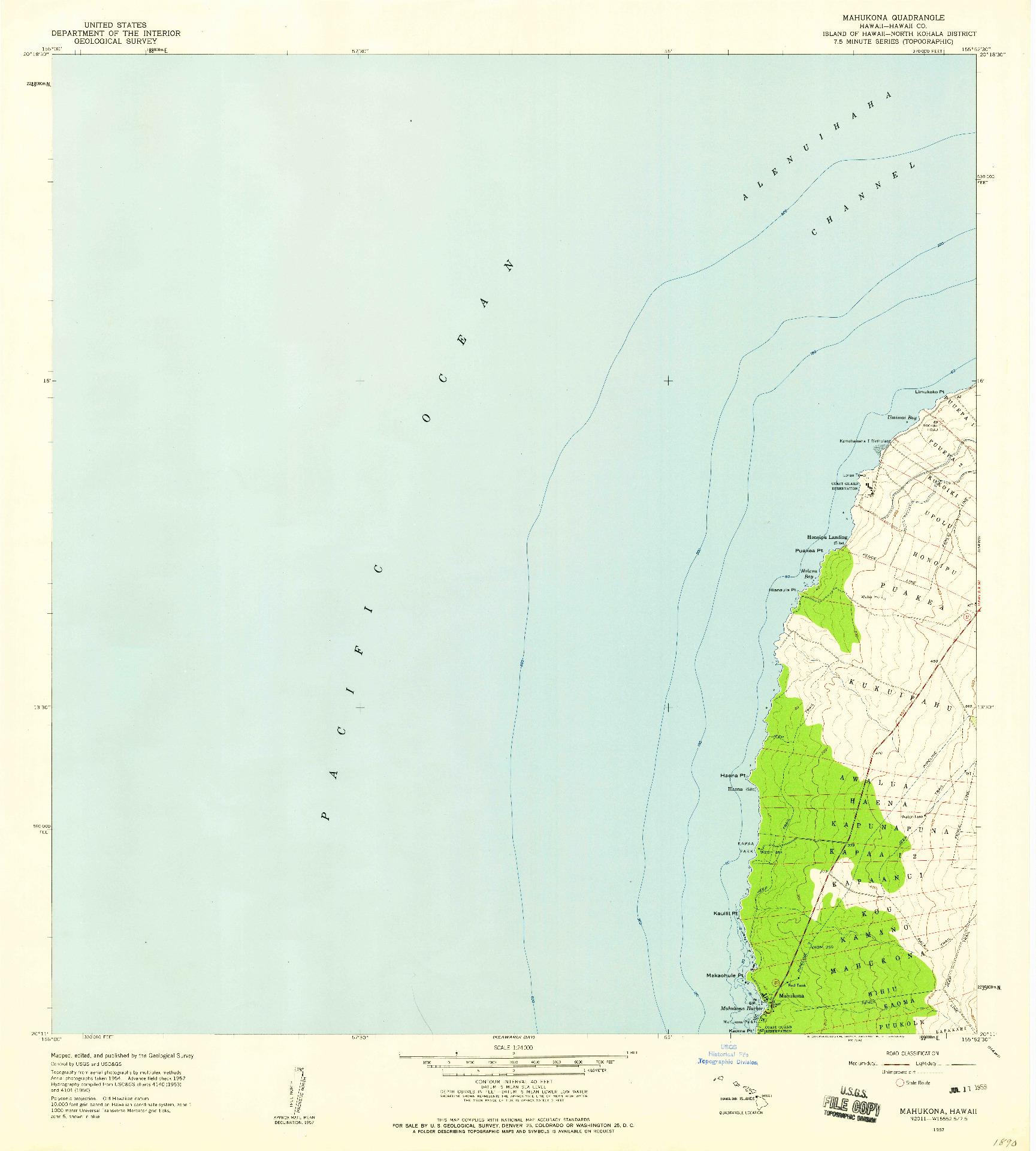 USGS 1:24000-SCALE QUADRANGLE FOR MAHUKONA, HI 1957