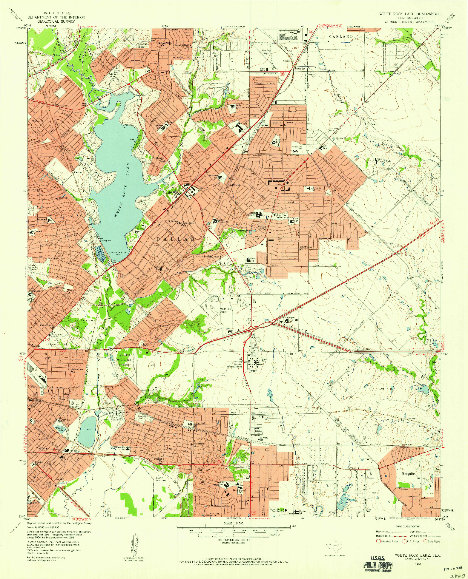 USGS 1:24000-SCALE QUADRANGLE FOR WHITE ROCK LAKE, TX 1957