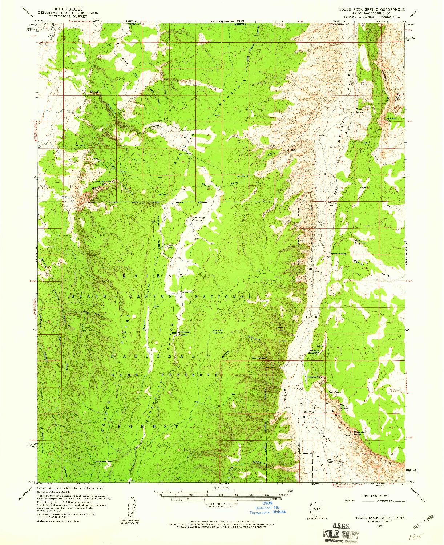 USGS 1:62500-SCALE QUADRANGLE FOR HOUSE ROCK SPRING, AZ 1957