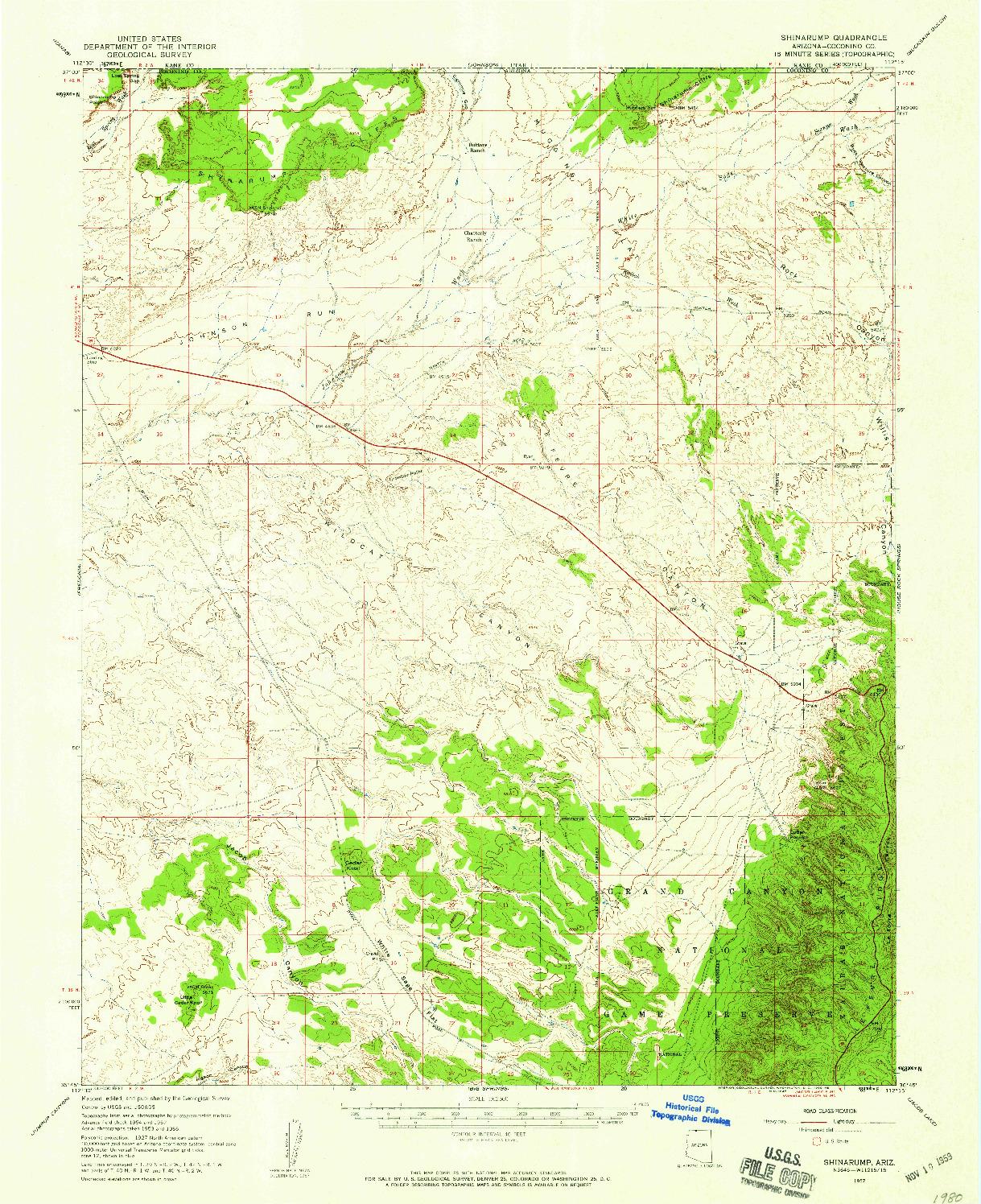 USGS 1:62500-SCALE QUADRANGLE FOR SHINARUMP, AZ 1957