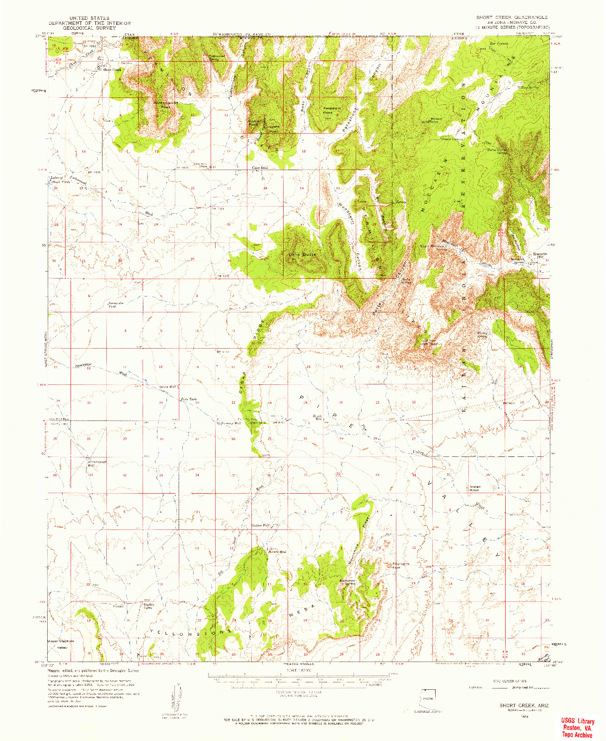 USGS 1:62500-SCALE QUADRANGLE FOR SHORT CREEK, AZ 1954