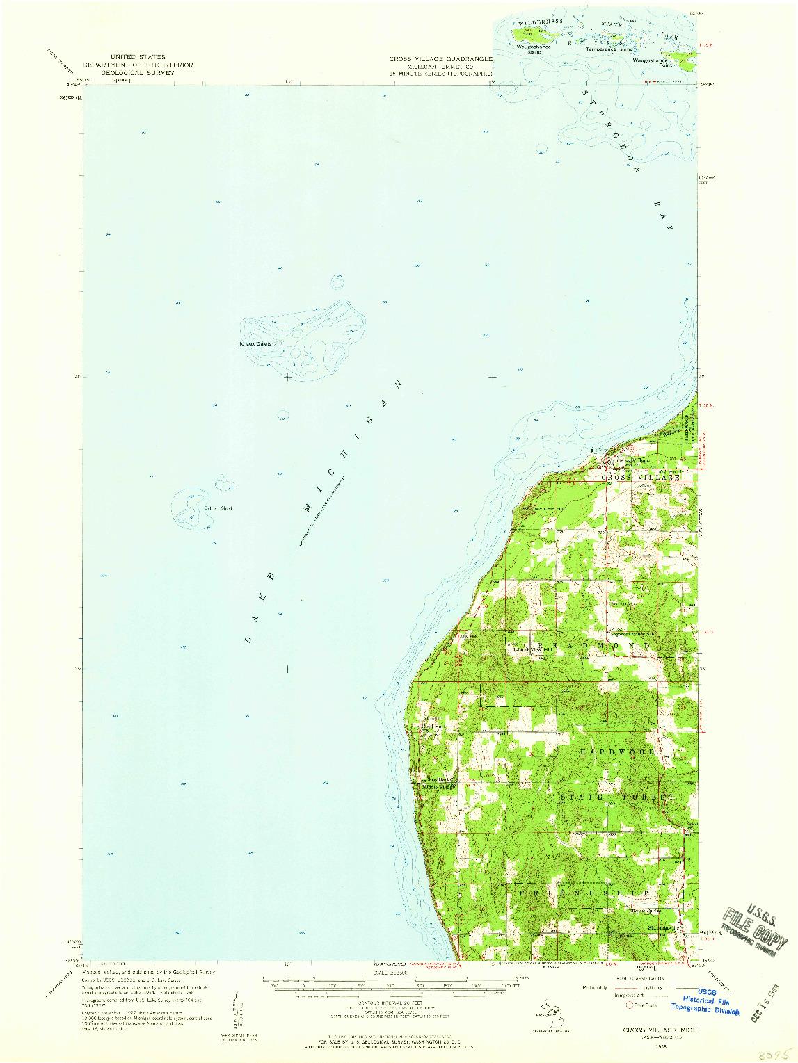 USGS 1:62500-SCALE QUADRANGLE FOR CROSS VILLAGE, MI 1958