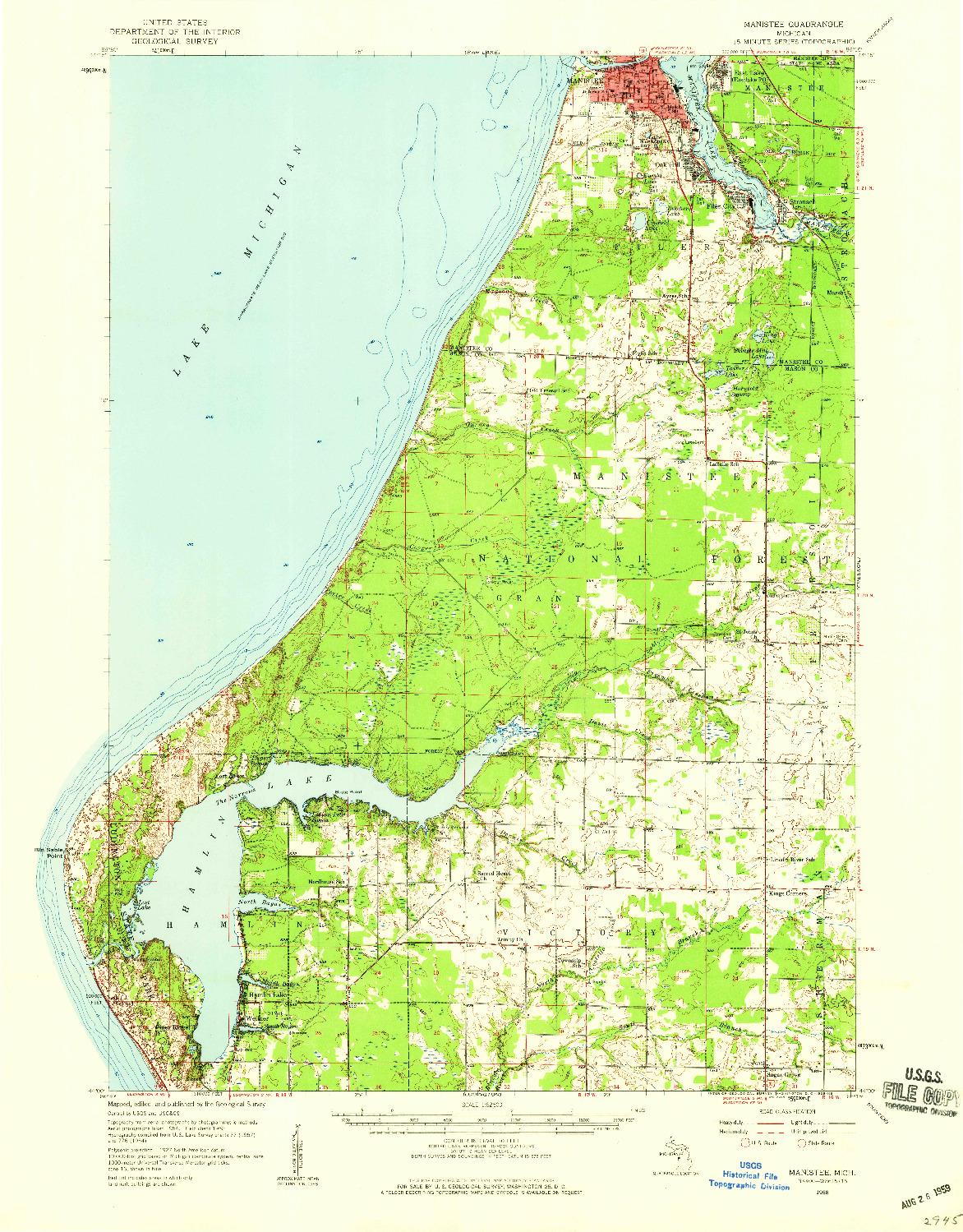 USGS 1:62500-SCALE QUADRANGLE FOR MANISTEE, MI 1958