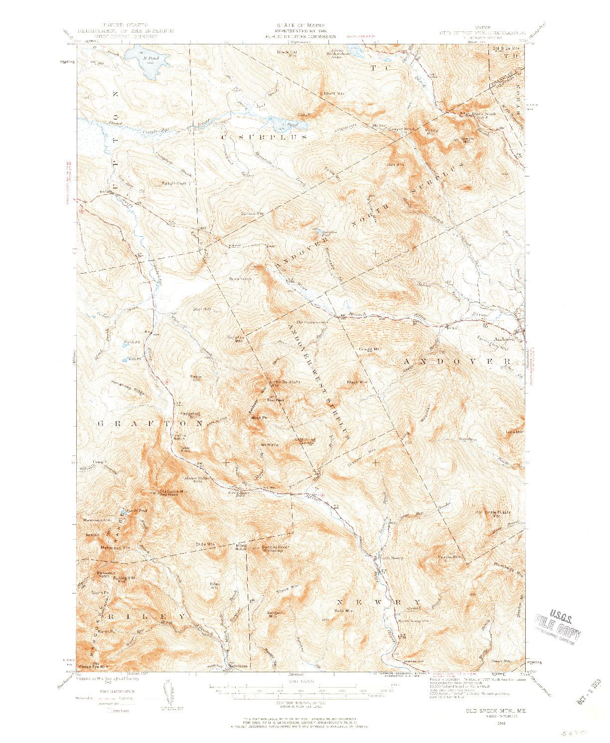 USGS 1:62500-SCALE QUADRANGLE FOR OLD SPECK MTN, ME 1943