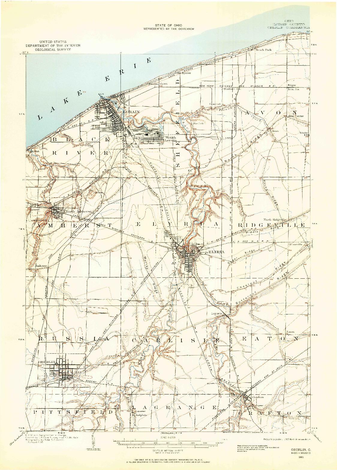 USGS 1:62500-SCALE QUADRANGLE FOR OBERLIN, OH 1901