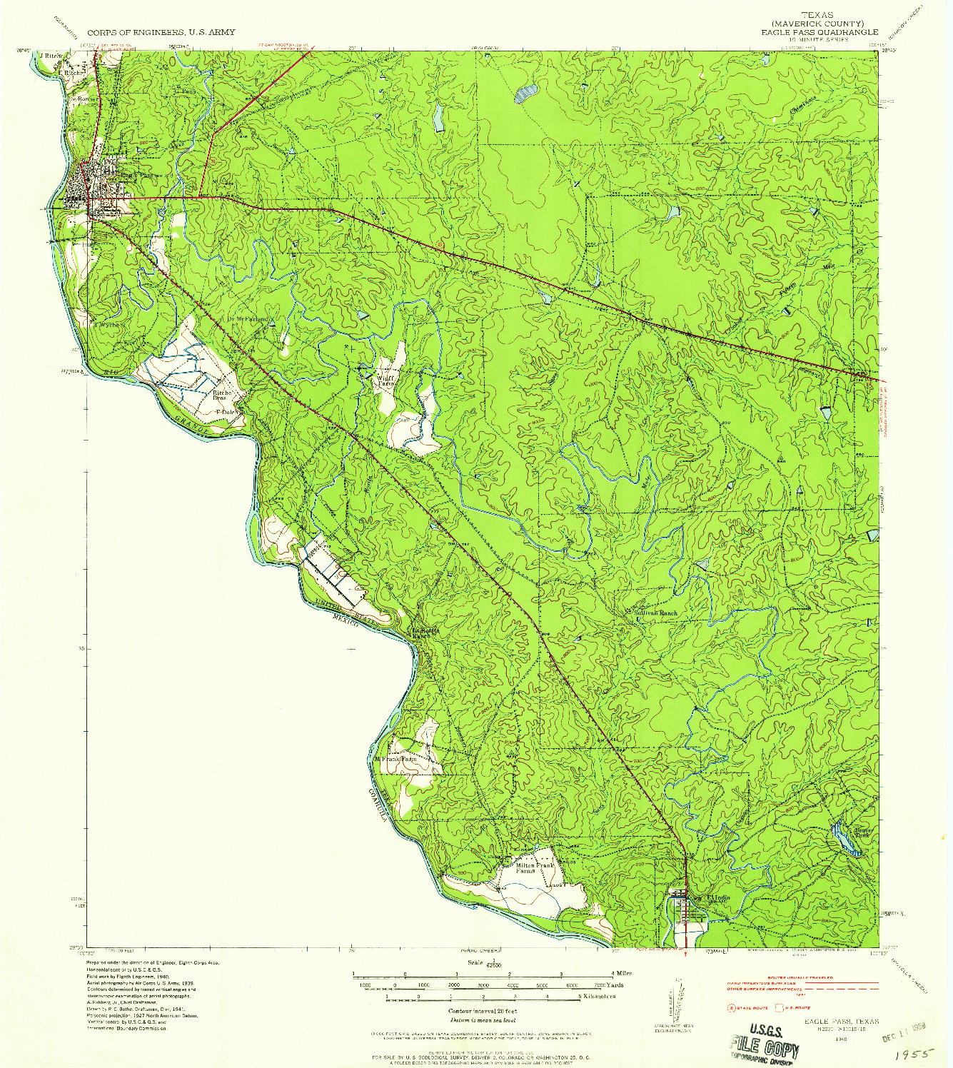 USGS 1:62500-SCALE QUADRANGLE FOR EAGLE PASS, TX 1940