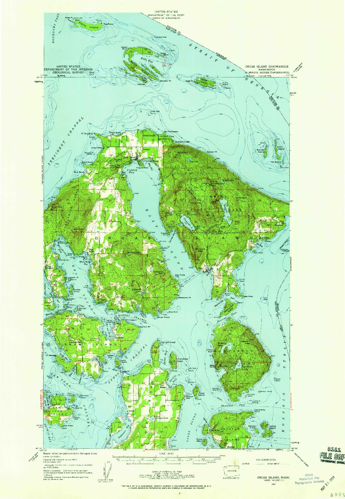 USGS 1:62500-SCALE QUADRANGLE FOR ORCAS ISLAND, WA 1957