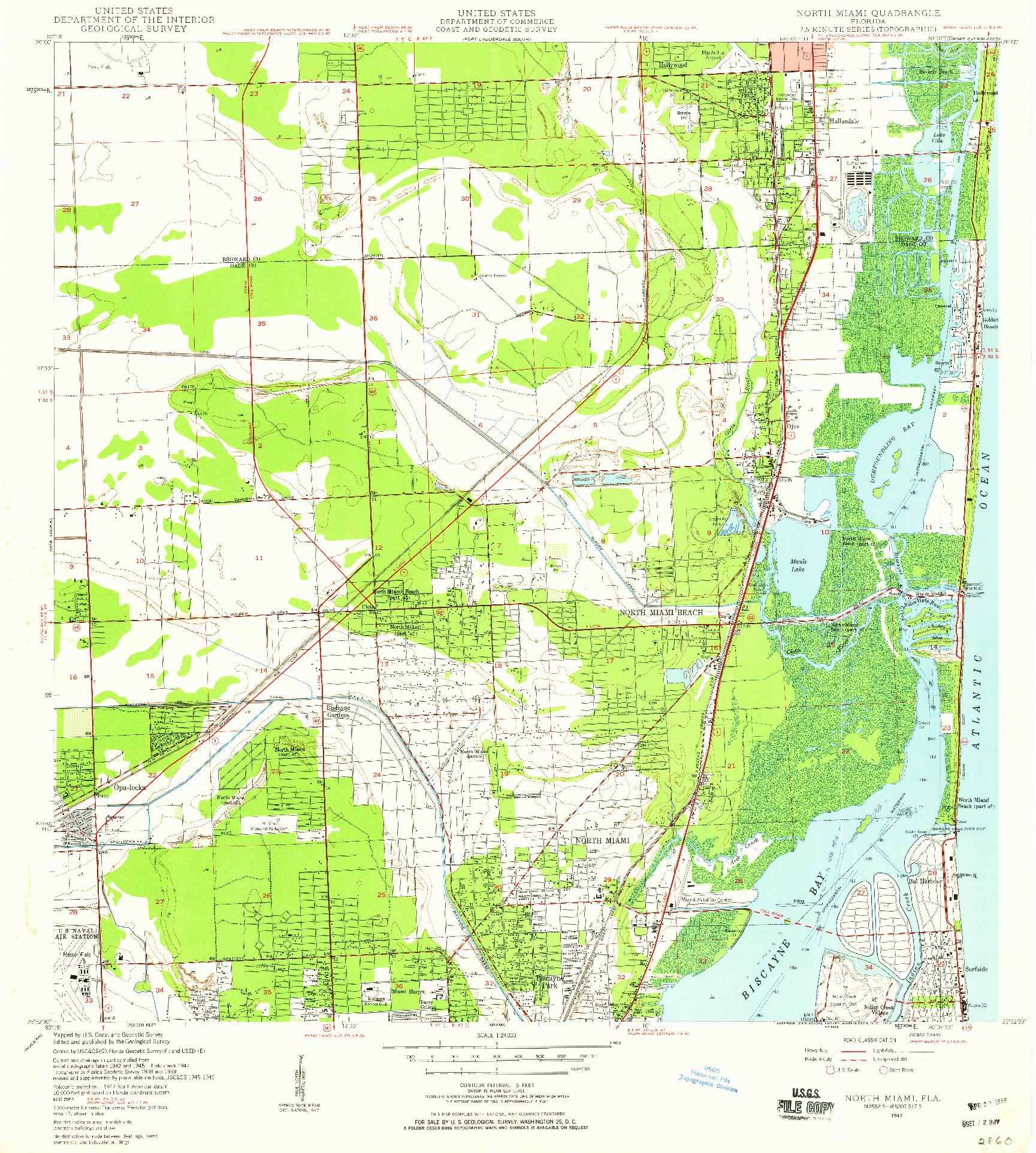 USGS 1:24000-SCALE QUADRANGLE FOR NORTH MIAMI, FL 1947
