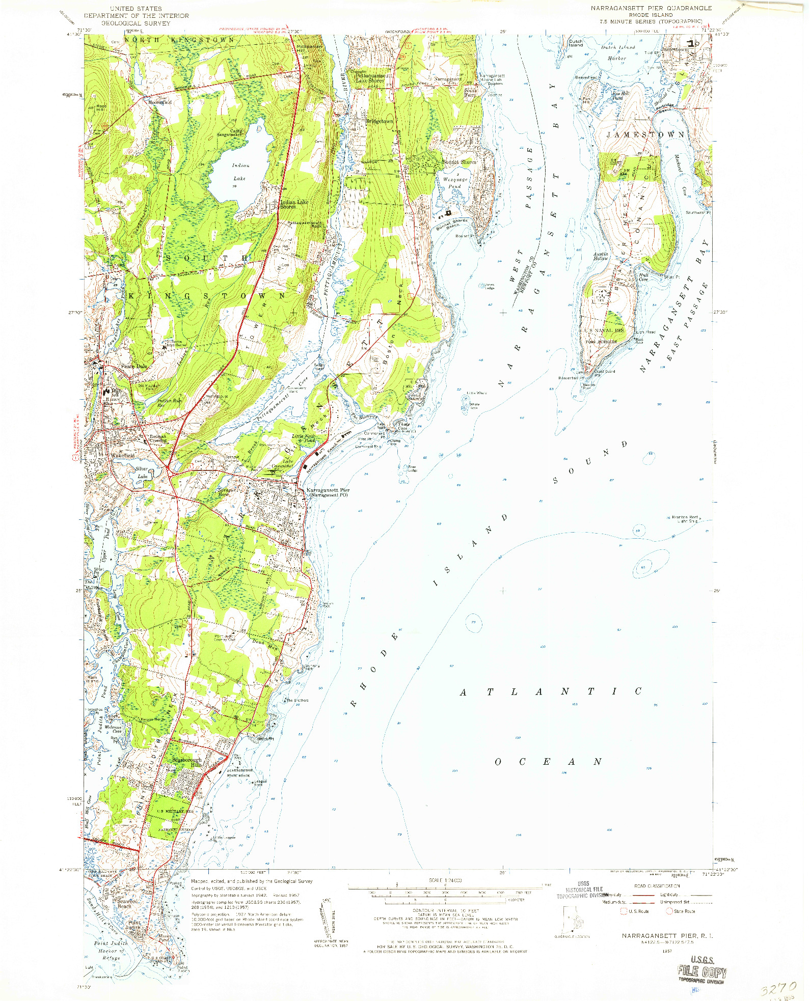 USGS 1:24000-SCALE QUADRANGLE FOR NARRAGANSETT PIER, RI 1957