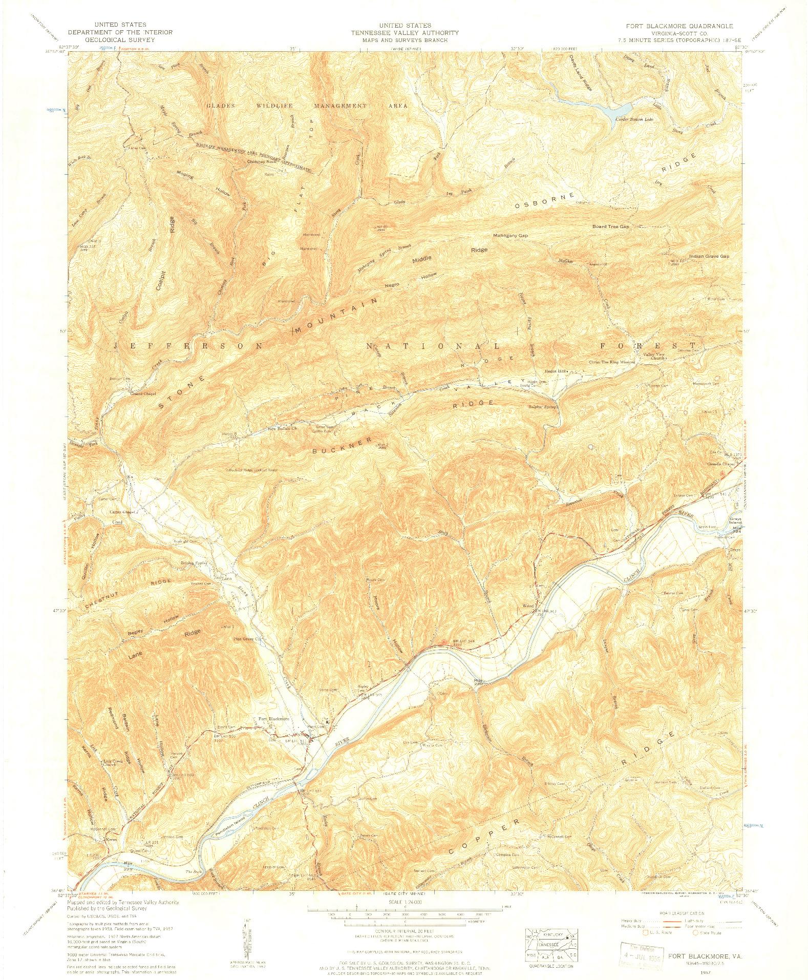 USGS 1:24000-SCALE QUADRANGLE FOR FORT BLACKMORE, VA 1957