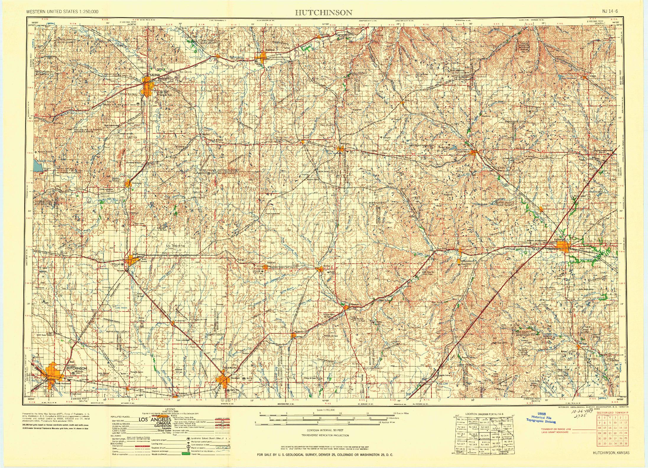 USGS 1:250000-SCALE QUADRANGLE FOR HUTCHINSON, KS 1959