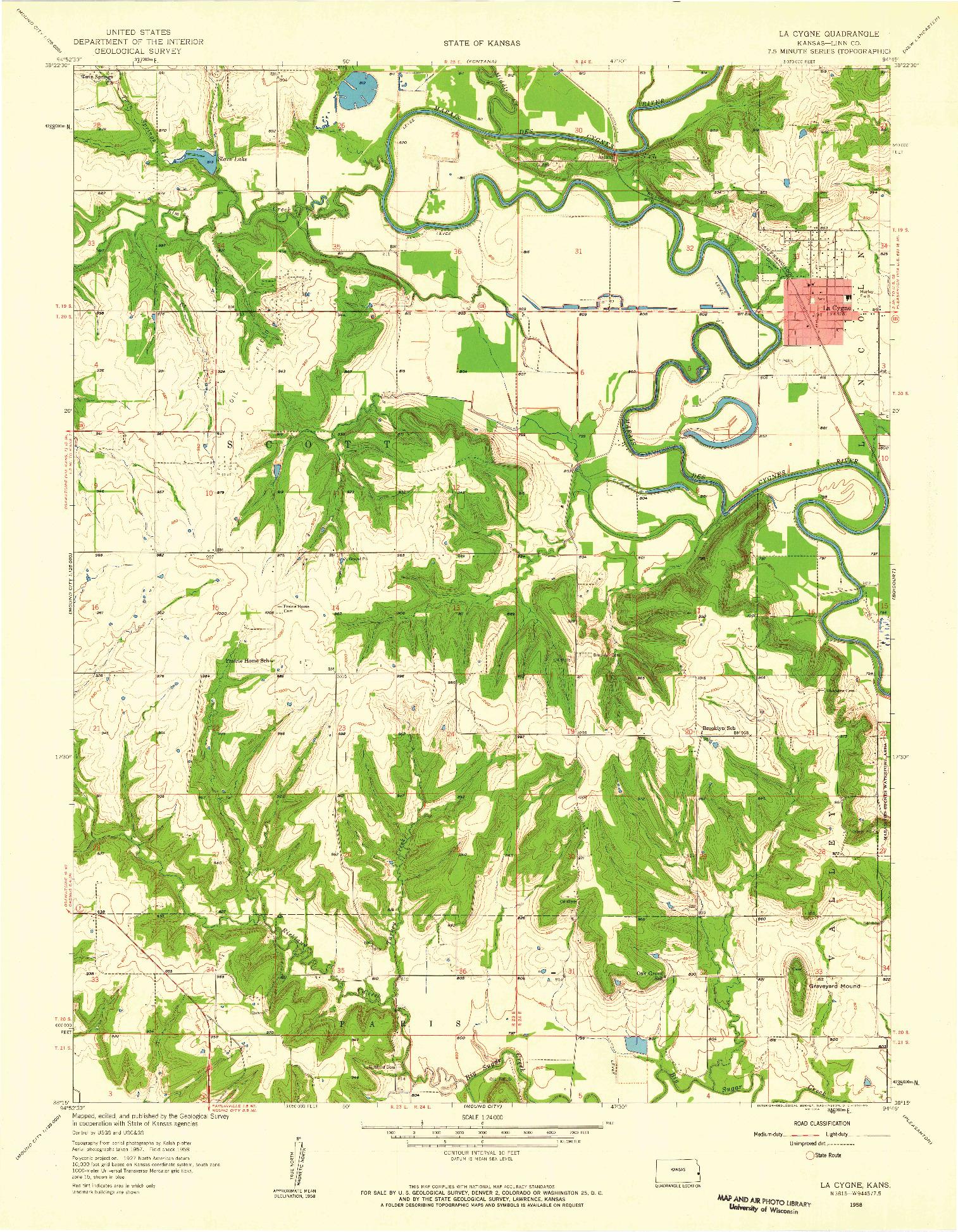 USGS 1:24000-SCALE QUADRANGLE FOR LA CYGNE, KS 1958