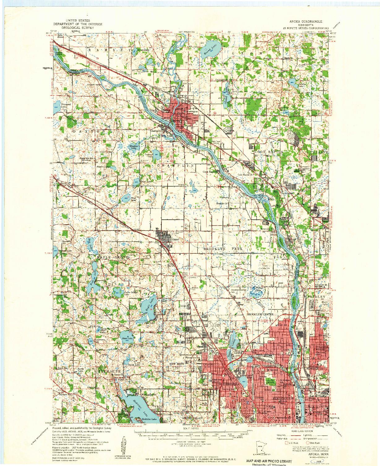 USGS 1:62500-SCALE QUADRANGLE FOR ANOKA, MN 1955