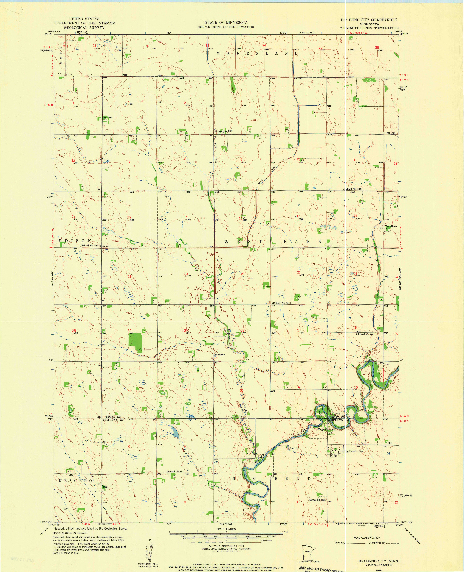 USGS 1:24000-SCALE QUADRANGLE FOR BIG BEND CITY, MN 1958
