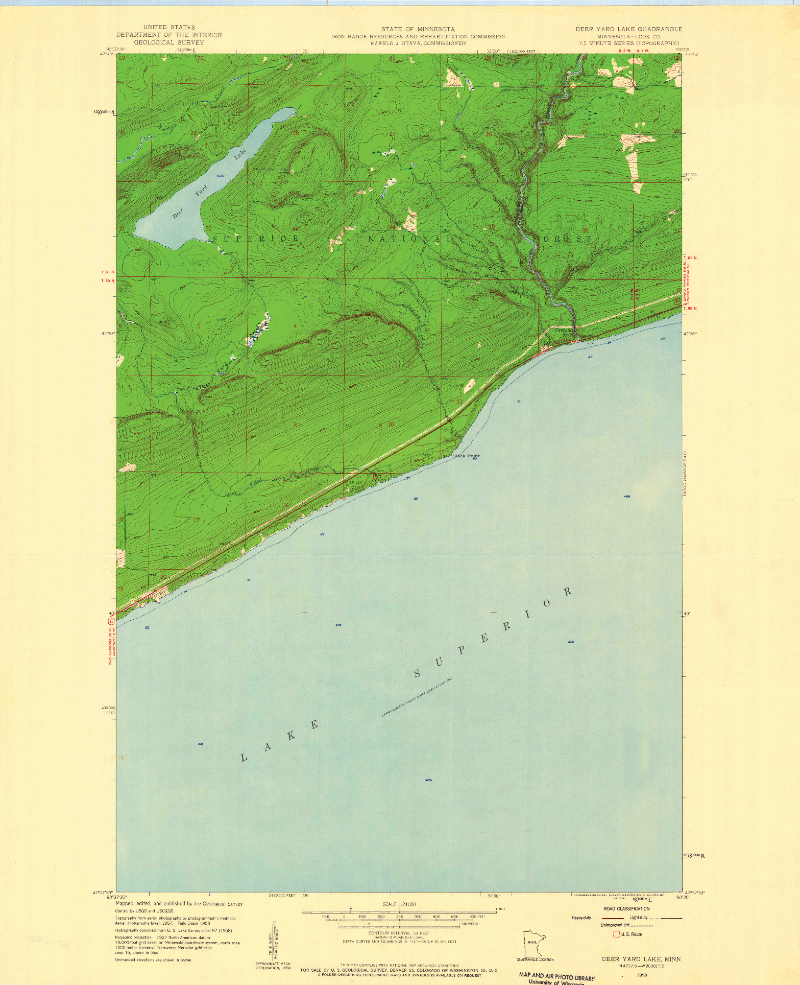 USGS 1:24000-SCALE QUADRANGLE FOR DEER YARD LAKE, MN 1958