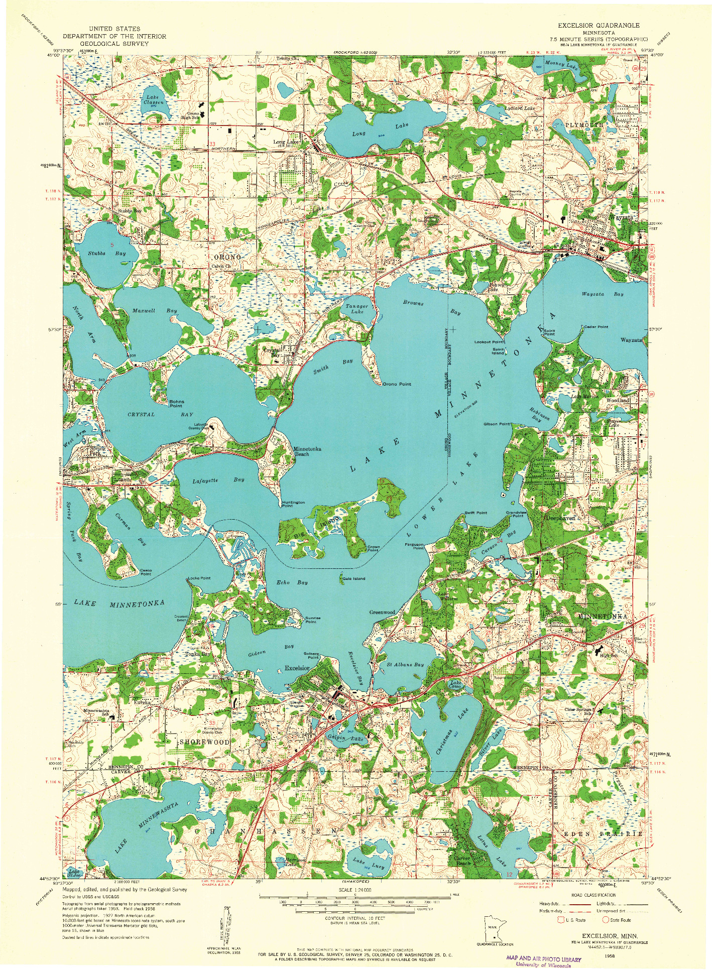 USGS 1:24000-SCALE QUADRANGLE FOR EXCELSIOR, MN 1958
