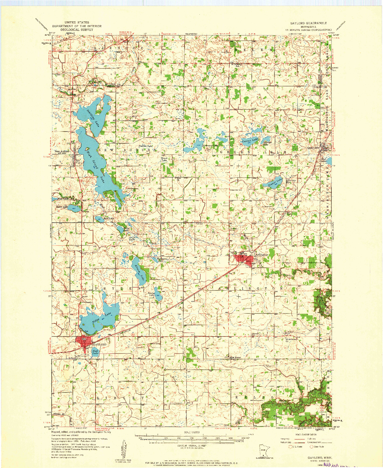 USGS 1:62500-SCALE QUADRANGLE FOR GAYLORD, MN 1958