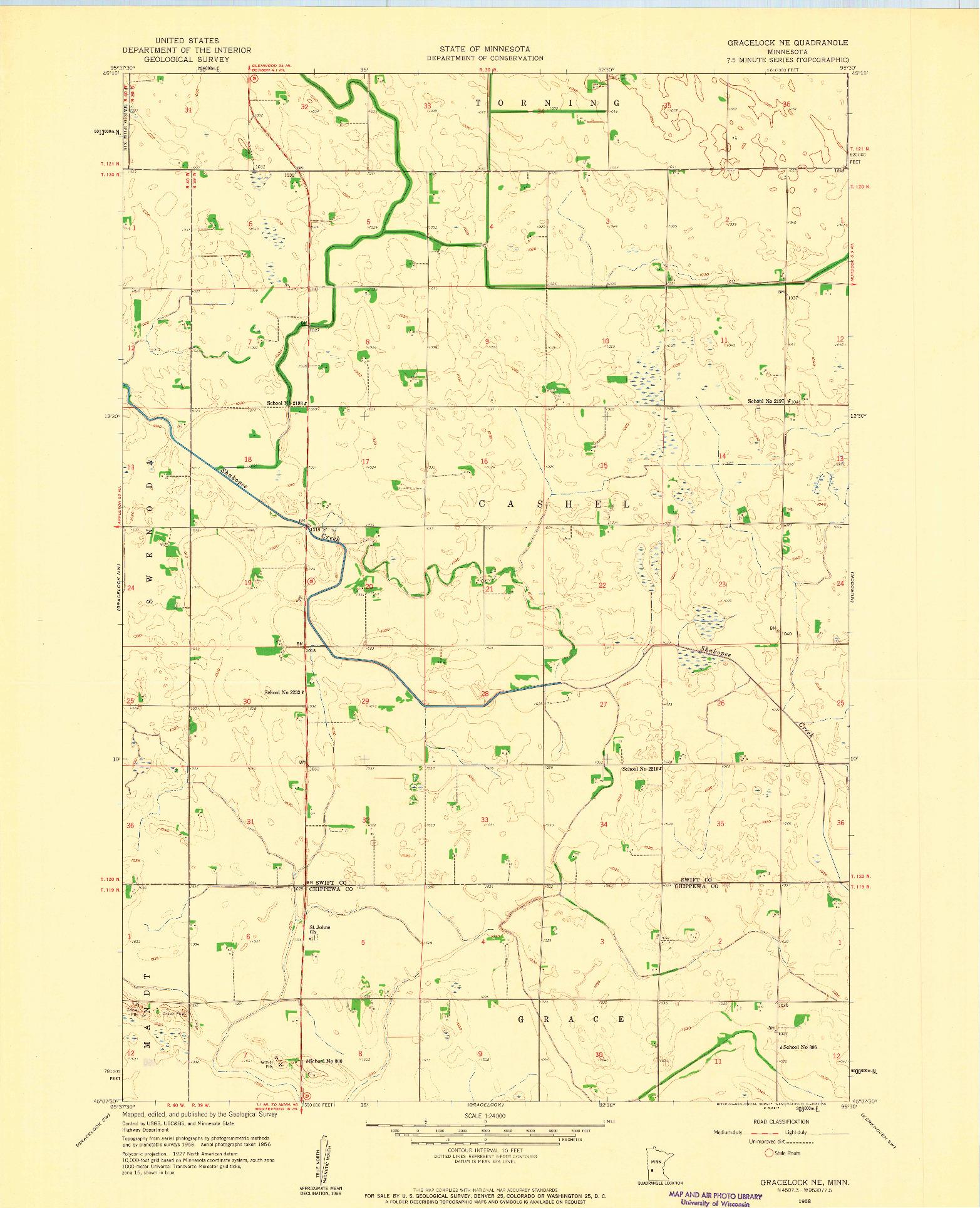 USGS 1:24000-SCALE QUADRANGLE FOR GRACELOCK NE, MN 1958