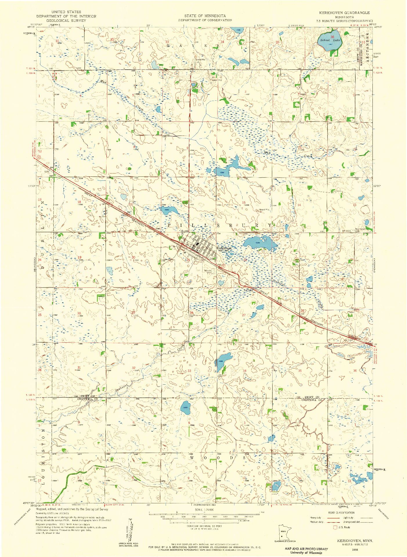 USGS 1:24000-SCALE QUADRANGLE FOR KERKHOVEN, MN 1958
