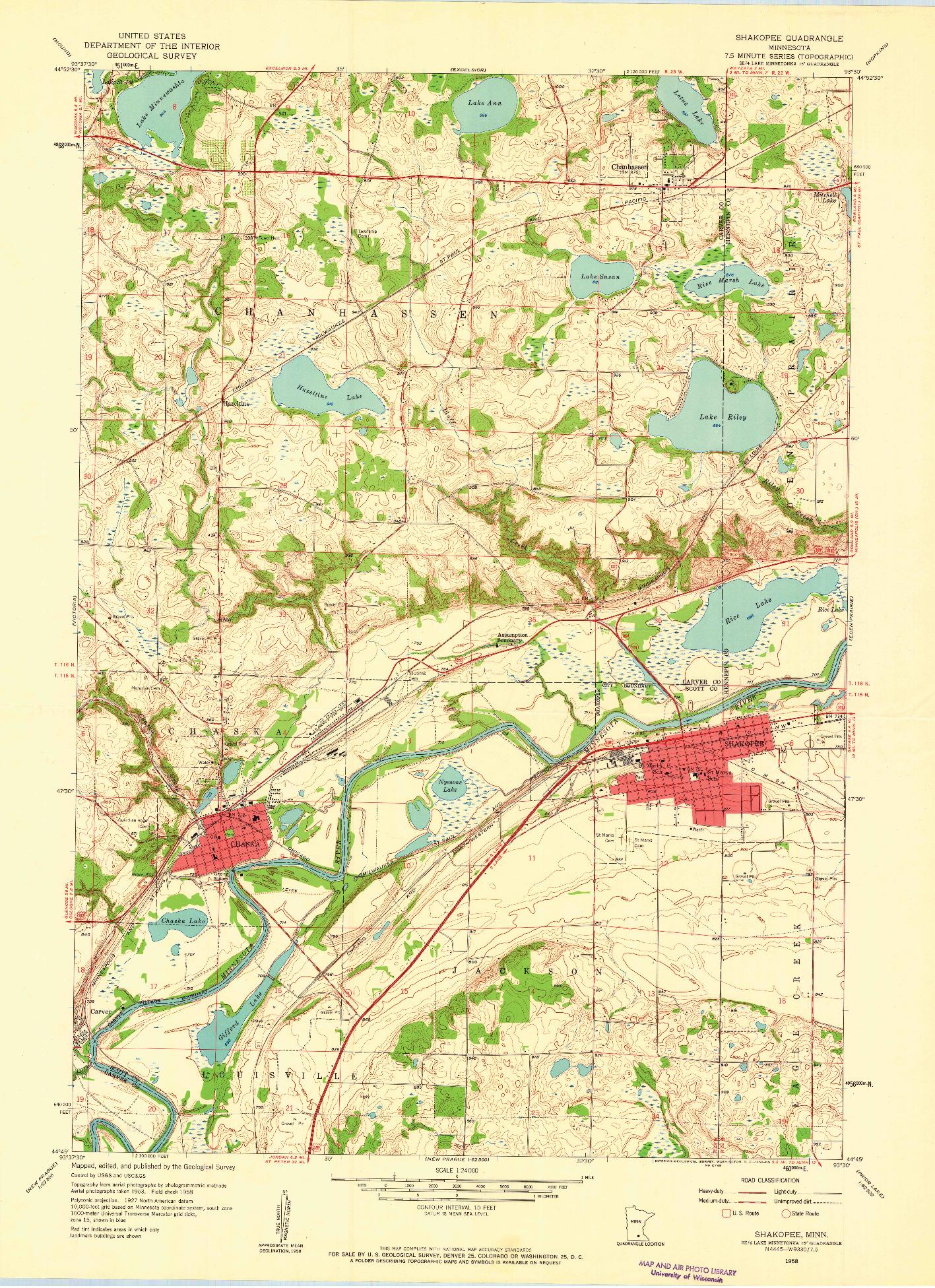 USGS 1:24000-SCALE QUADRANGLE FOR SHAKOPEE, MN 1958
