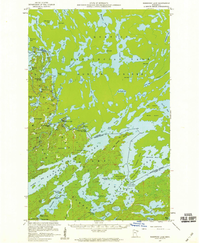 USGS 1:62500-SCALE QUADRANGLE FOR BASSWOOD LAKE, MN 1957