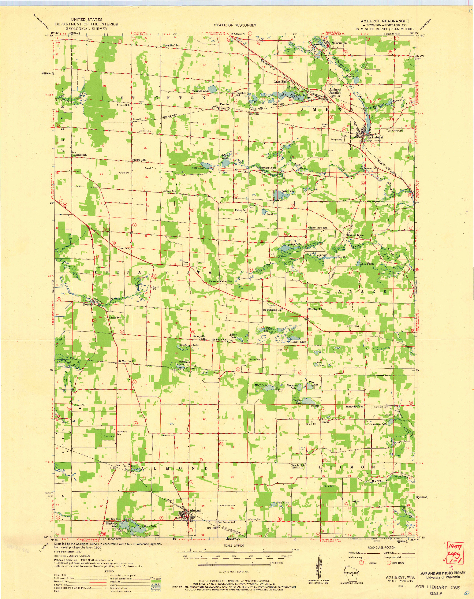 USGS 1:48000-SCALE QUADRANGLE FOR AMHERST, WI 1957