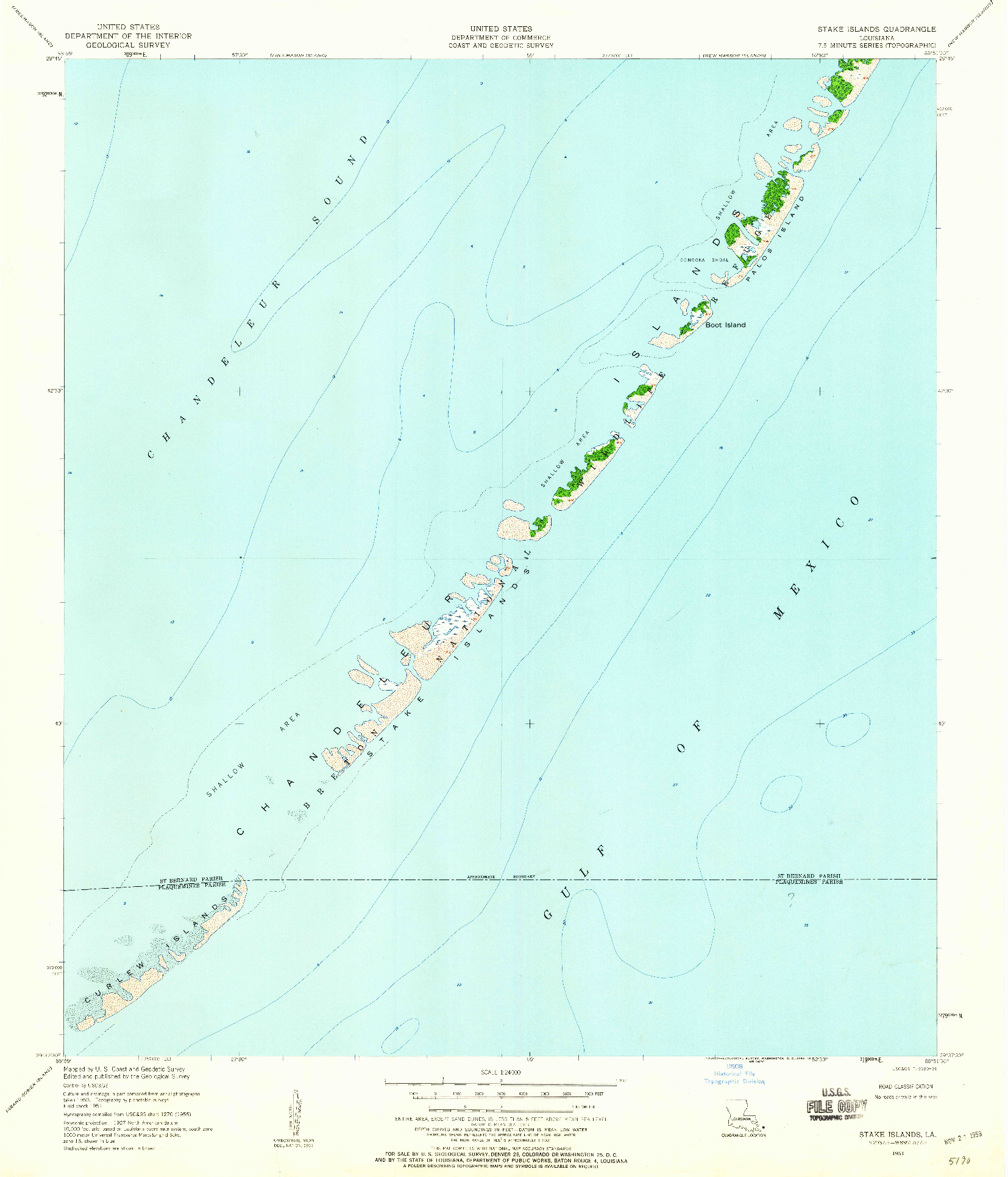 USGS 1:24000-SCALE QUADRANGLE FOR STAKE ISLANDS, LA 1951