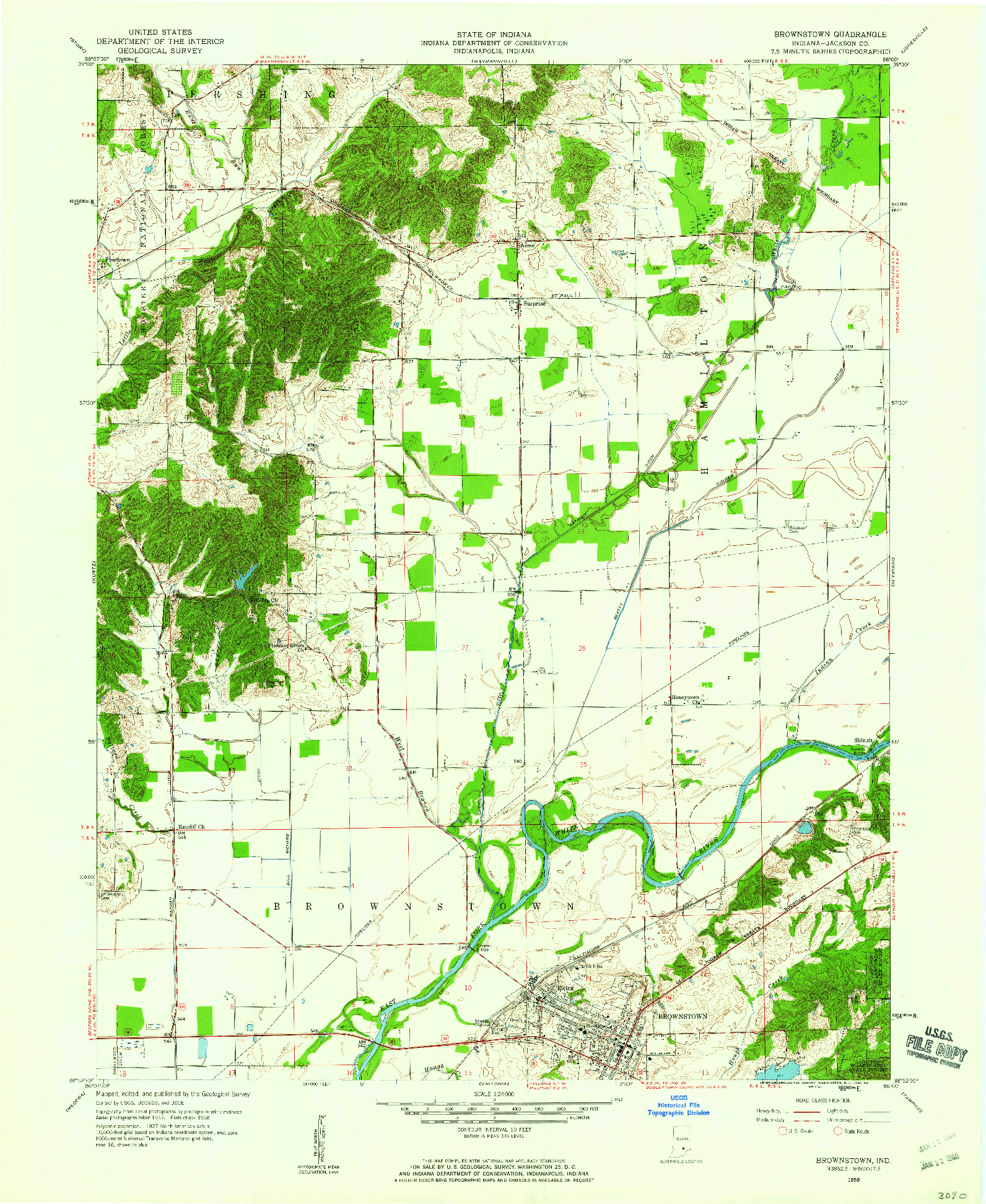 USGS 1:24000-SCALE QUADRANGLE FOR BROWNSTOWN, IN 1958