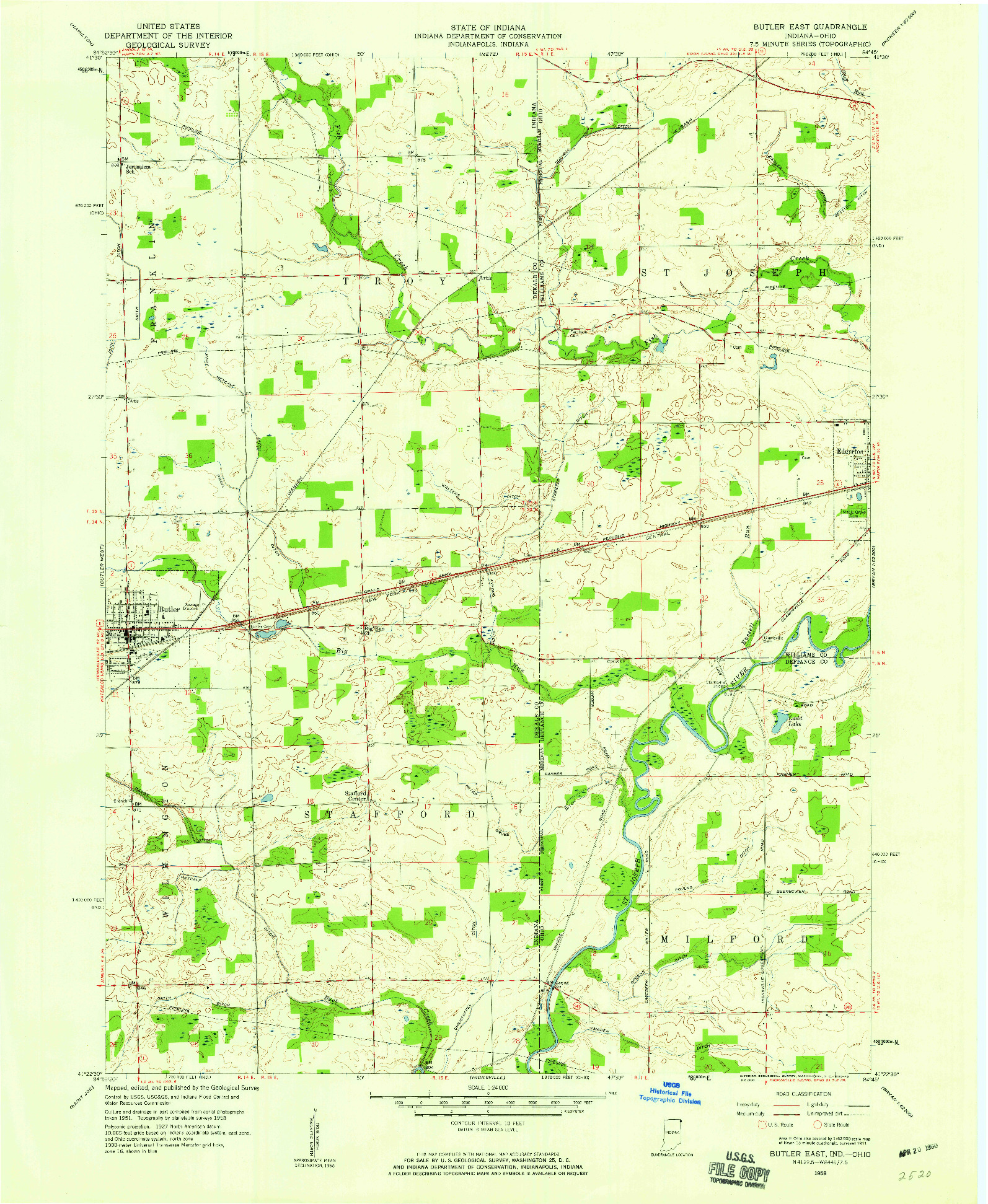 USGS 1:24000-SCALE QUADRANGLE FOR BUTLER EAST, IN 1958