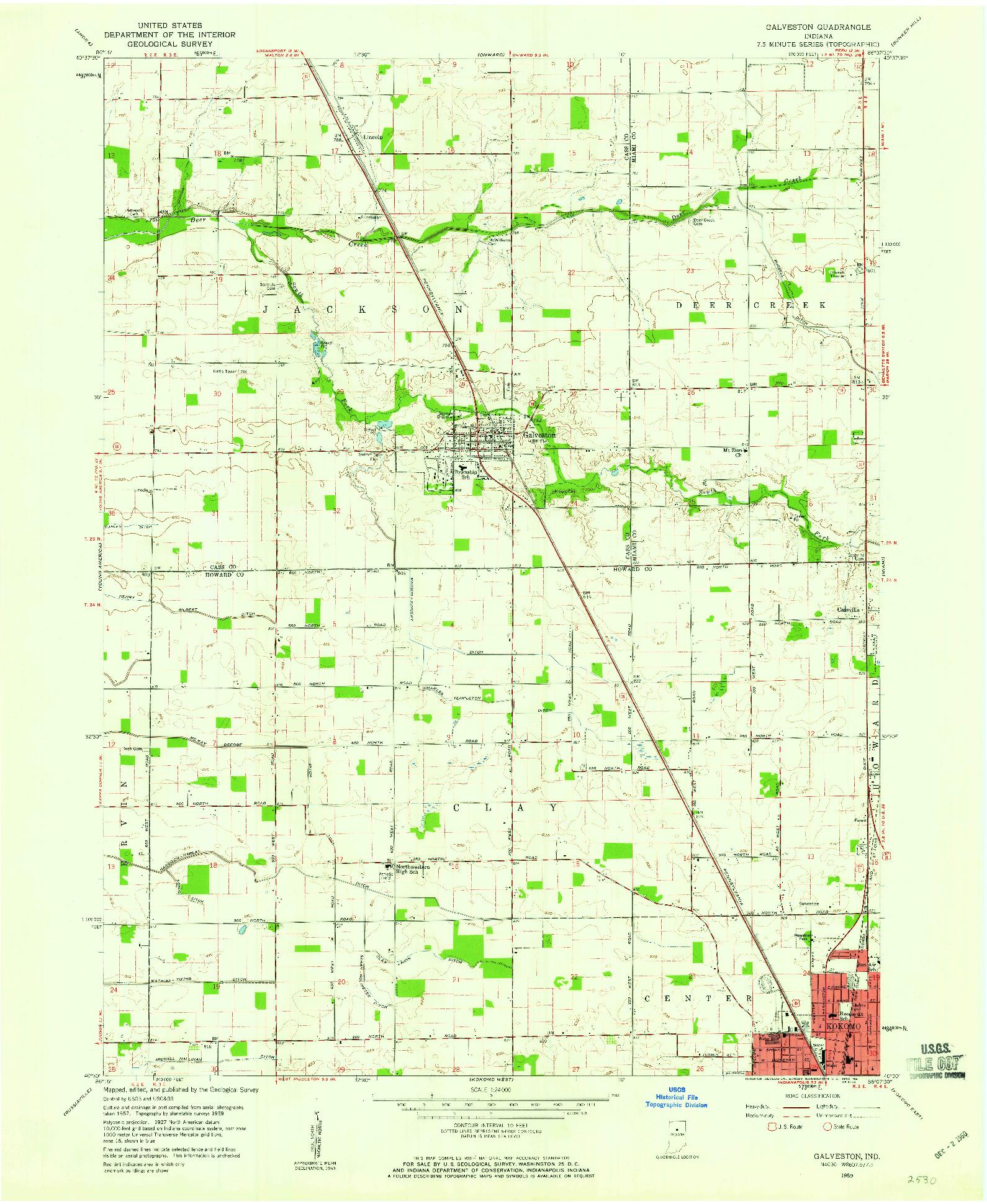 USGS 1:24000-SCALE QUADRANGLE FOR GALVESTON, IN 1959