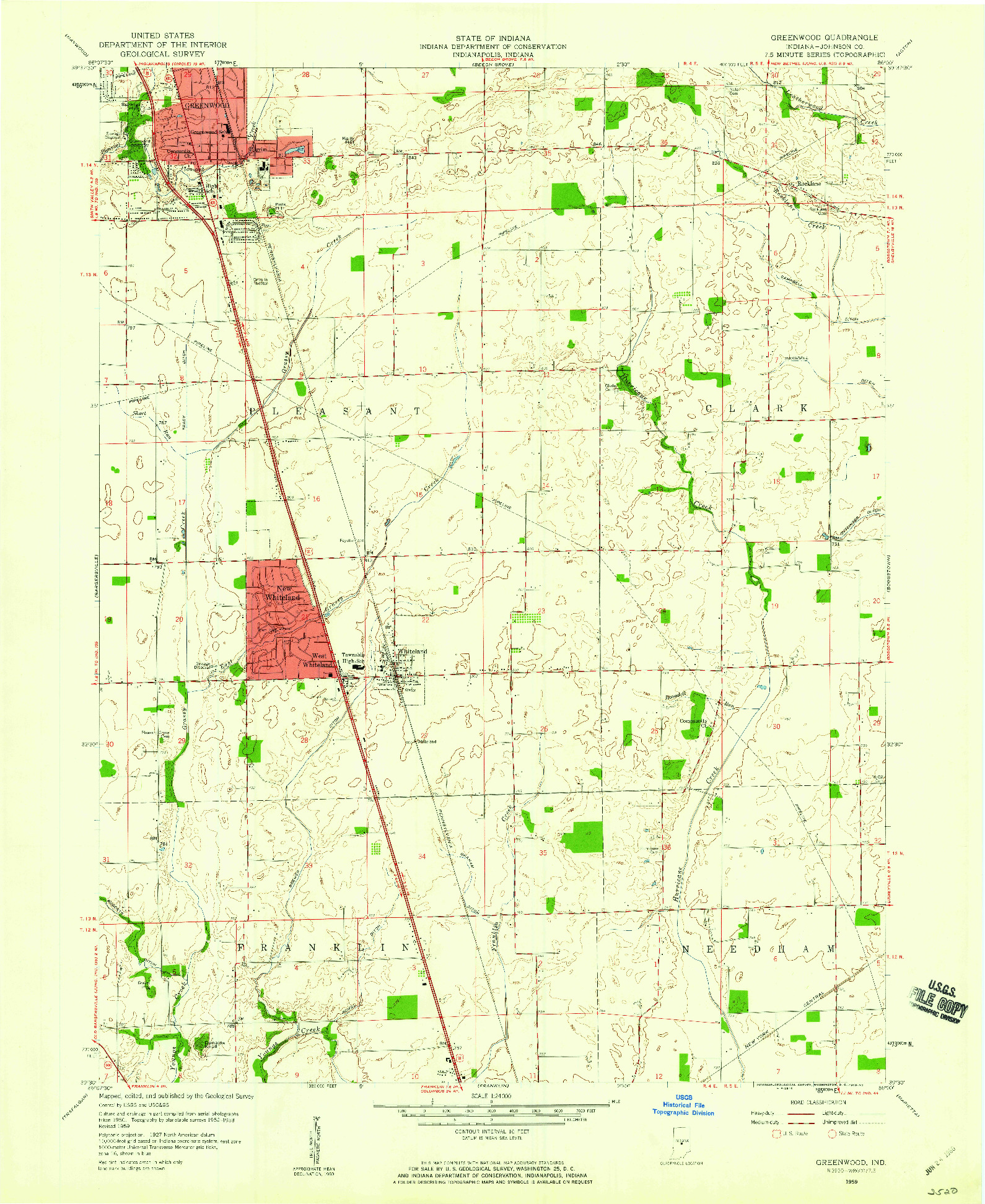 USGS 1:24000-SCALE QUADRANGLE FOR GREENWOOD, IN 1959