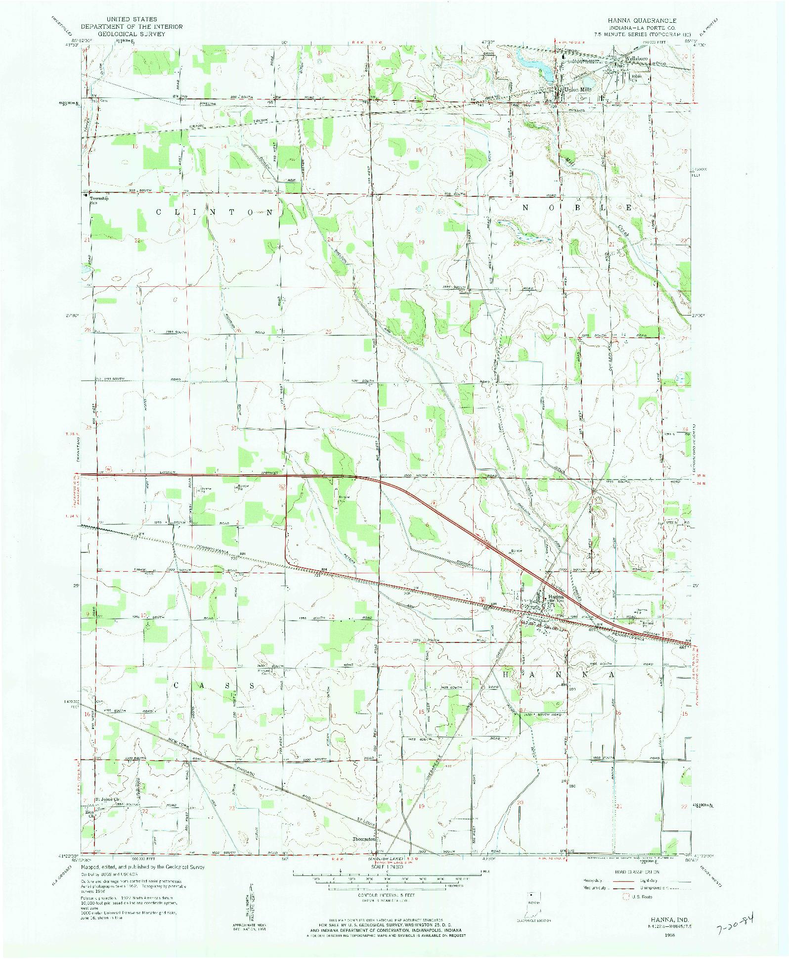 USGS 1:24000-SCALE QUADRANGLE FOR HANNA, IN 1958