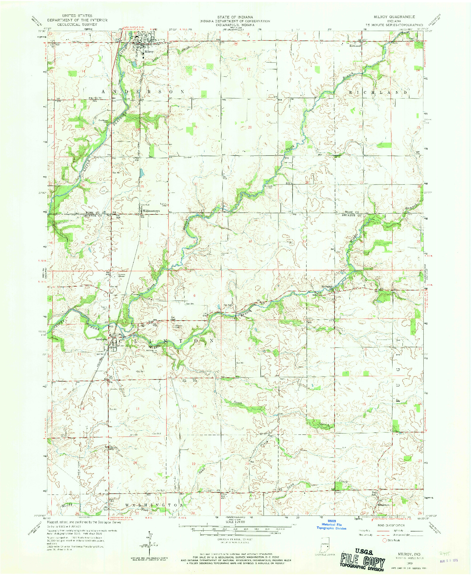 USGS 1:24000-SCALE QUADRANGLE FOR MILROY, IN 1959