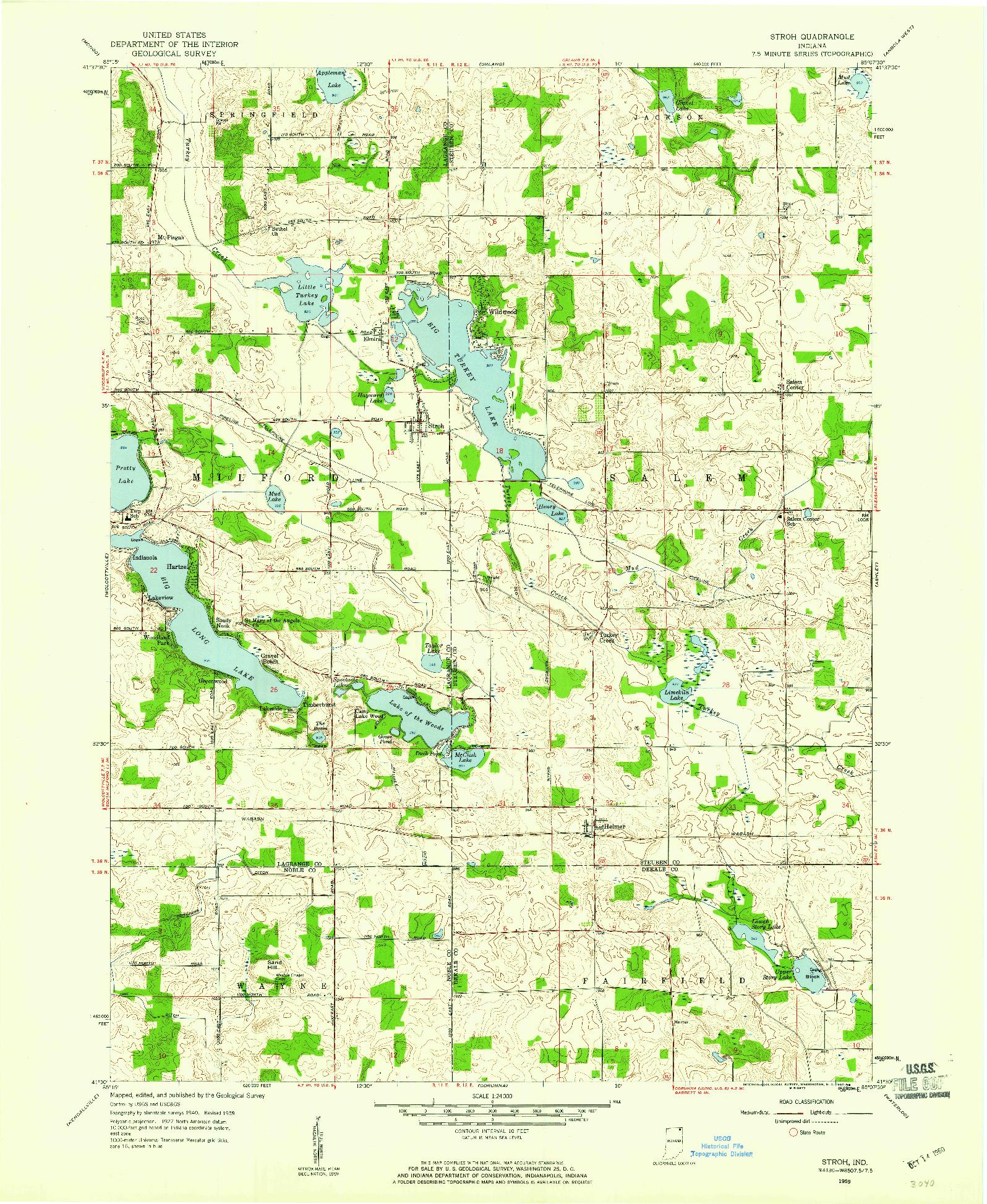 USGS 1:24000-SCALE QUADRANGLE FOR STROH, IN 1959
