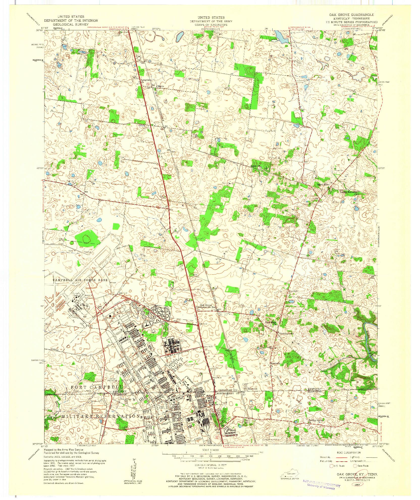 USGS 1:24000-SCALE QUADRANGLE FOR OAK GROVE, KY 1957