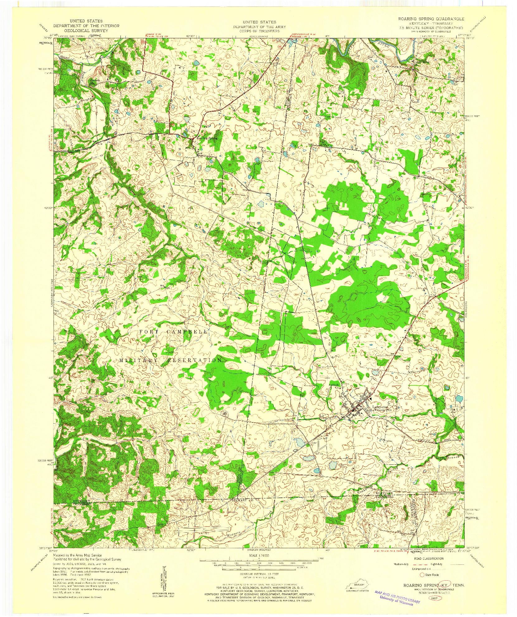 USGS 1:24000-SCALE QUADRANGLE FOR ROARING SPRING, KY 1957