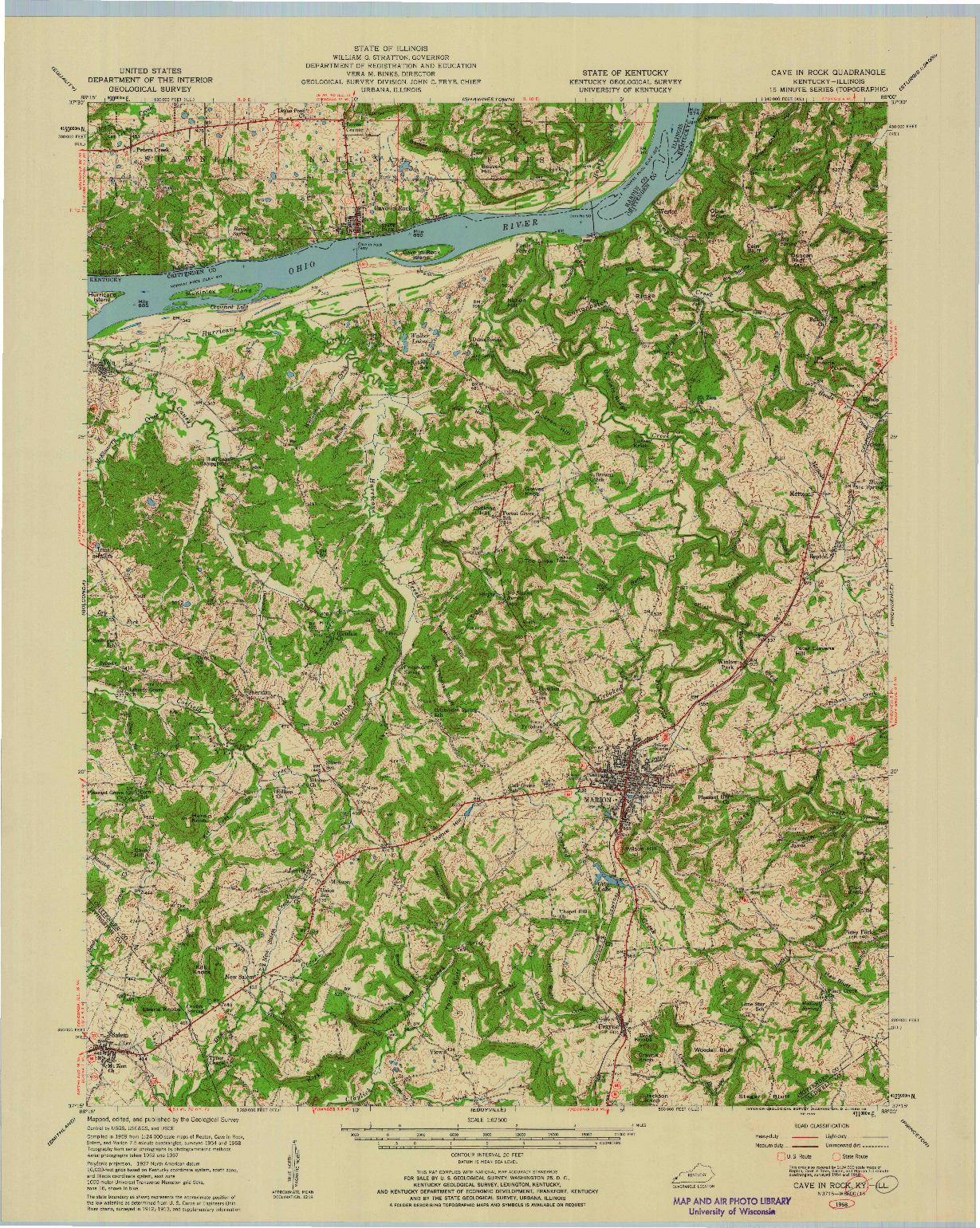 USGS 1:62500-SCALE QUADRANGLE FOR CAVE IN ROCK, KY 1958