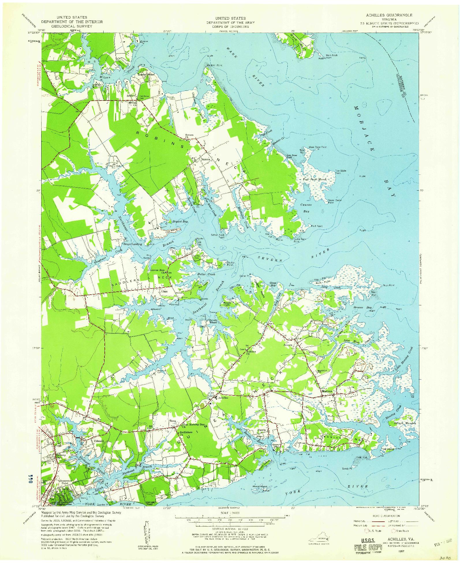 USGS 1:24000-SCALE QUADRANGLE FOR ACHILLES, VA 1957
