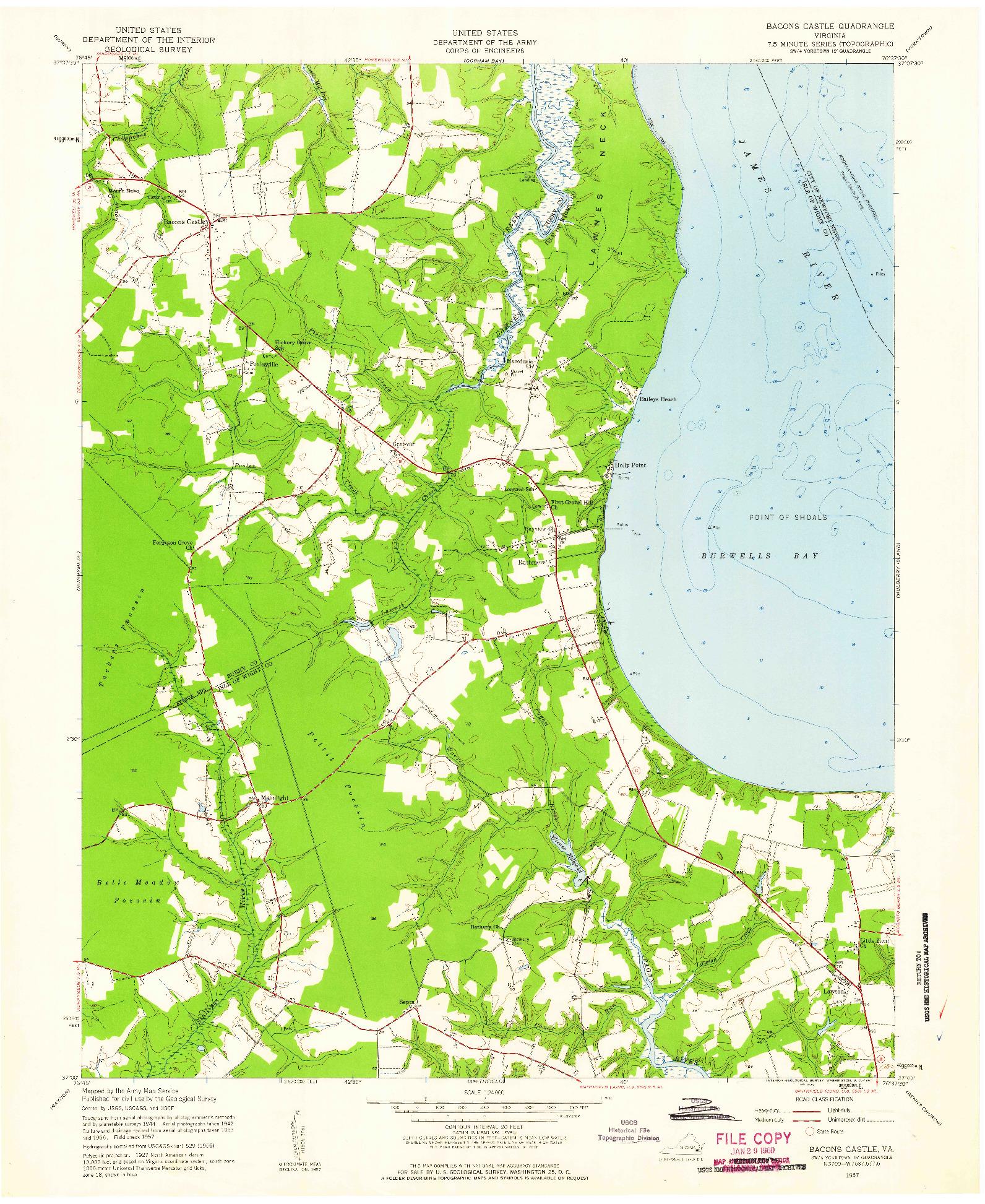 USGS 1:24000-SCALE QUADRANGLE FOR BACONS CASTLE, VA 1957