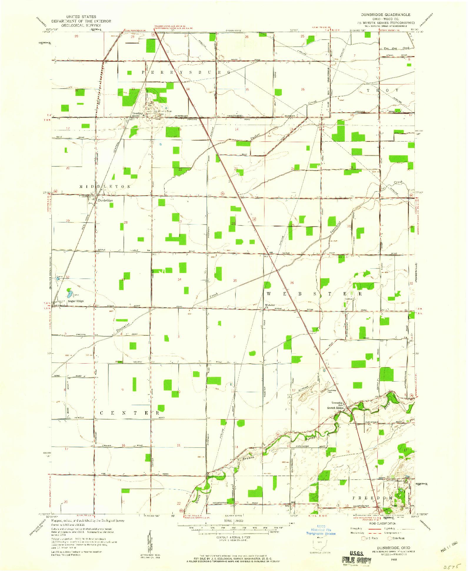 USGS 1:24000-SCALE QUADRANGLE FOR DUNBRIDGE, OH 1958