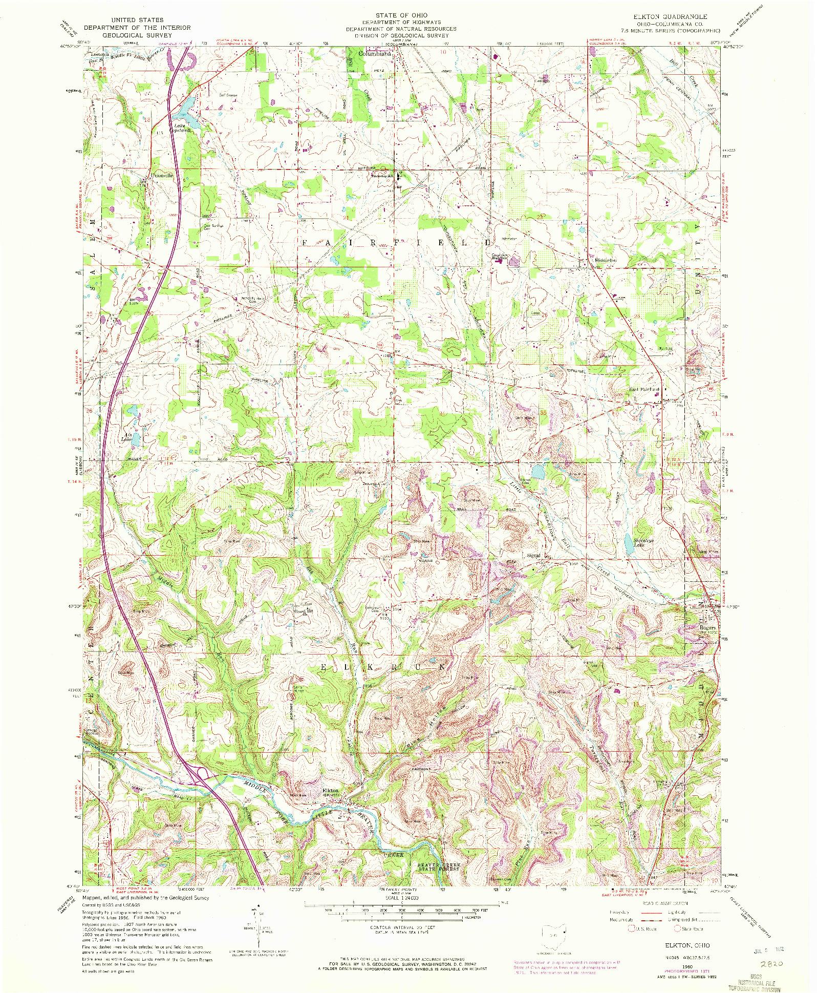 USGS 1:24000-SCALE QUADRANGLE FOR ELKTON, OH 1960