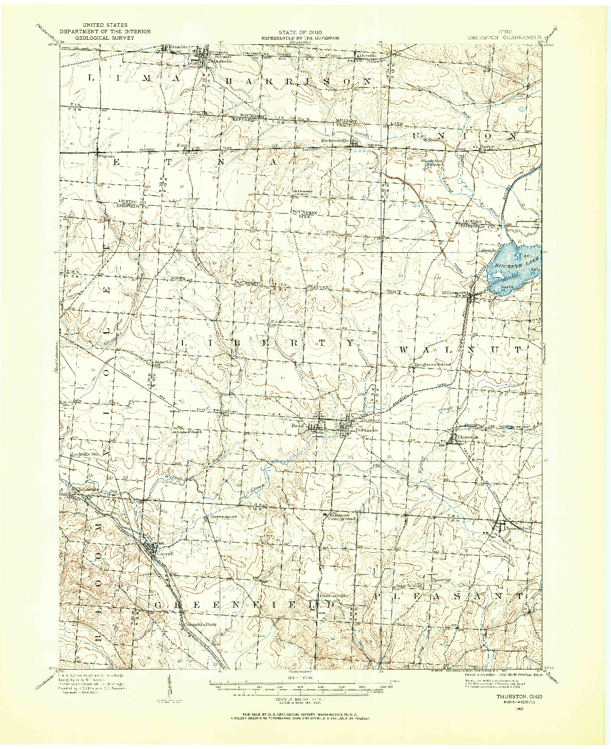 USGS 1:62500-SCALE QUADRANGLE FOR THURSTON, OH 1907